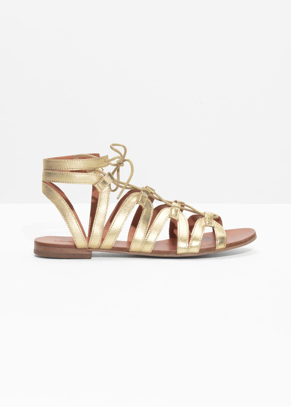 a20b584be48 Lyst -   Other Stories Lacing Sandals in Metallic