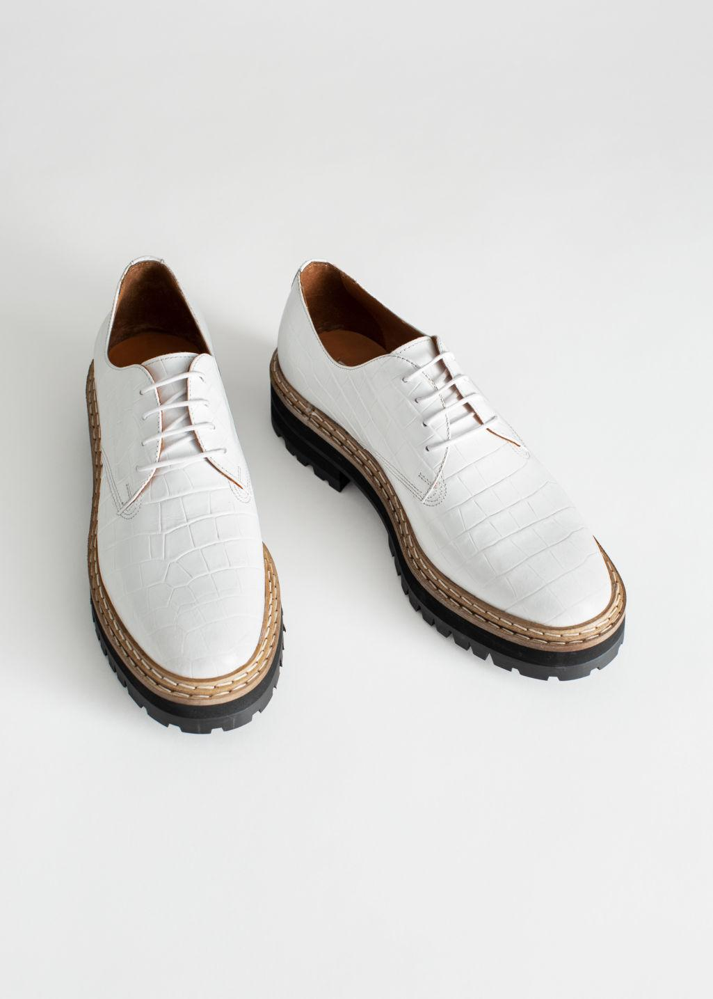 9d4f11c73a7 Lyst -   Other Stories Platform Leather Croc Oxfords in White