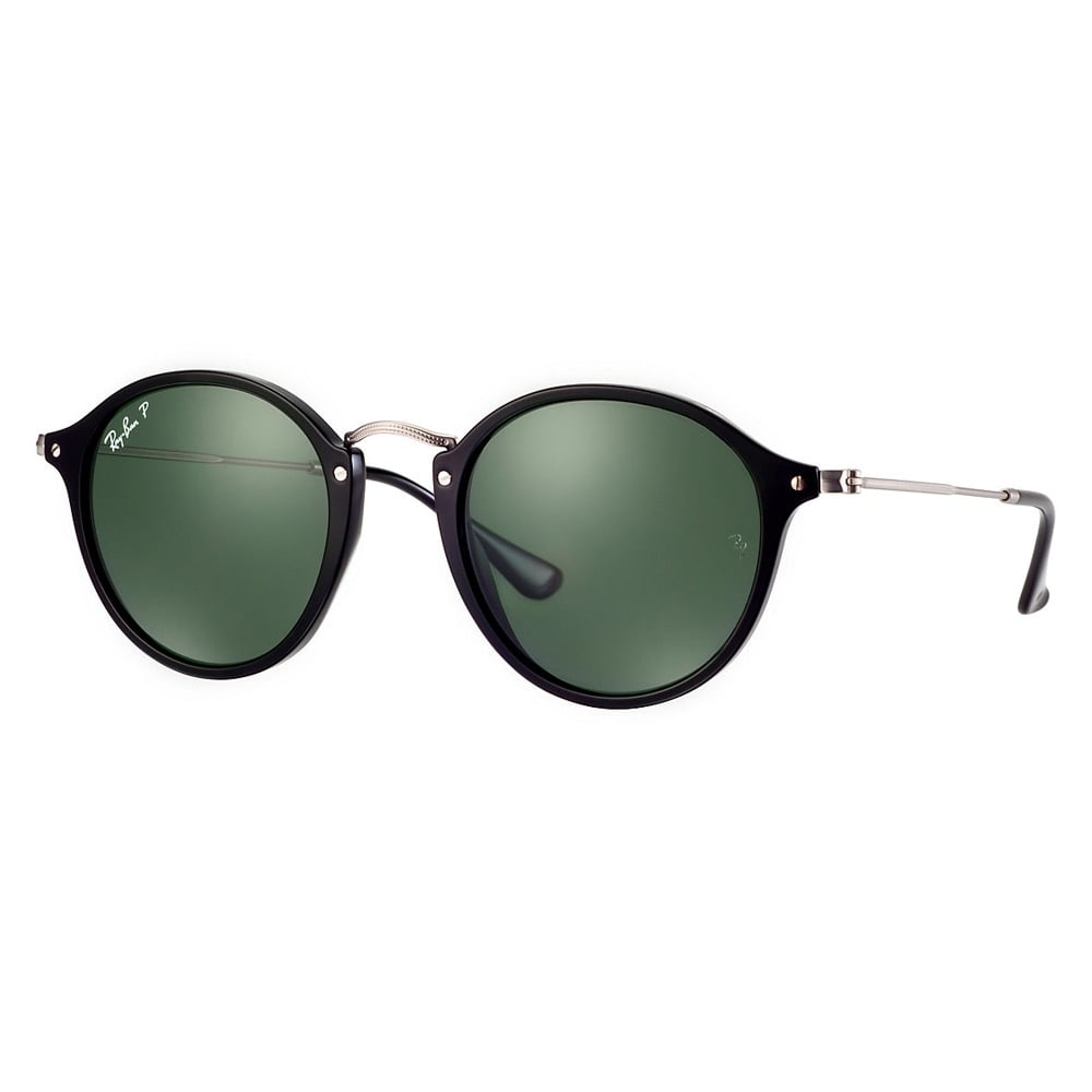 Ray-ban Round Black Silver Sunglasses Rb2447 in Black