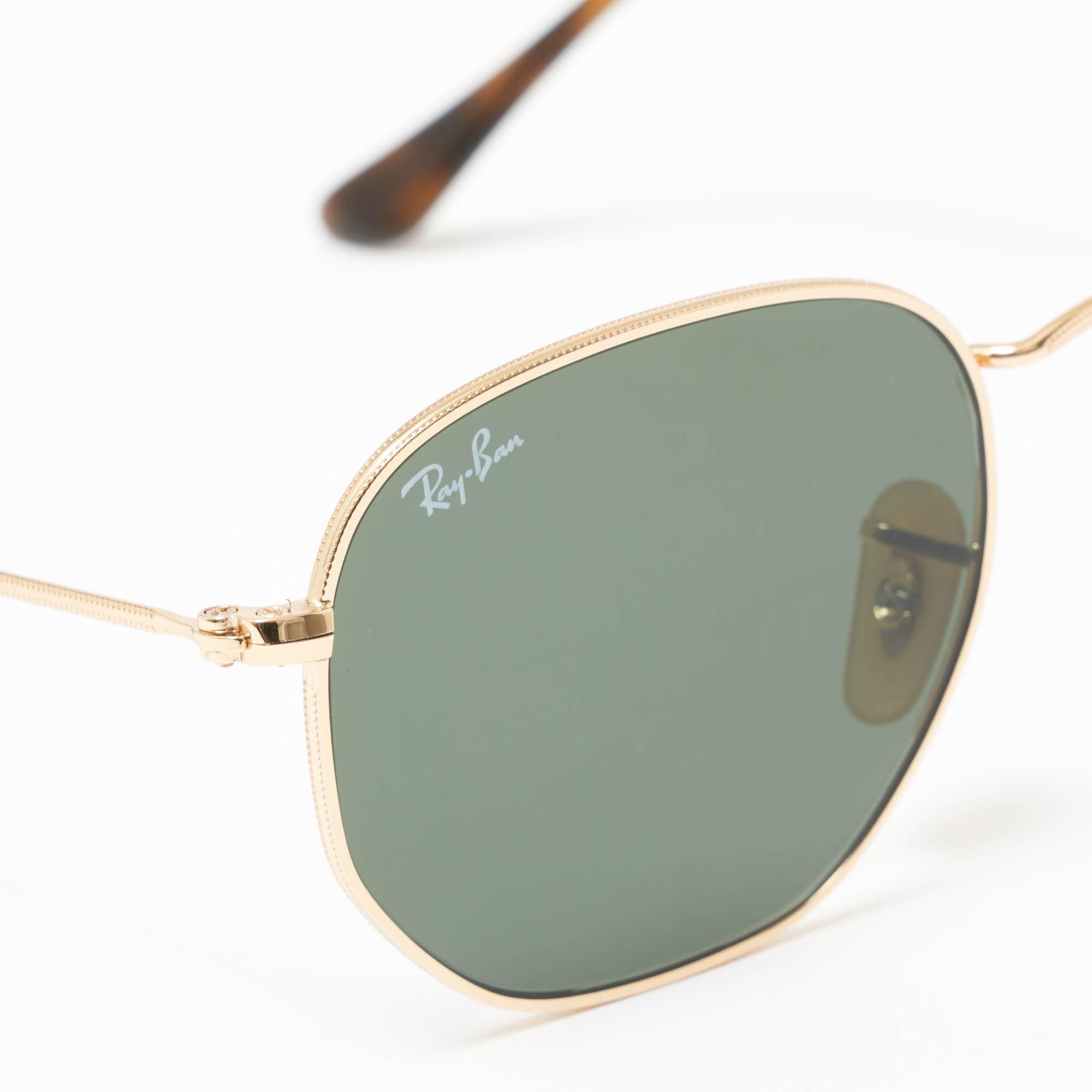 5eeaf98bb6 Ray-Ban - Metallic Gold Hexagonal Flat Lens Sunglasses - Green Classic  G-15. View fullscreen