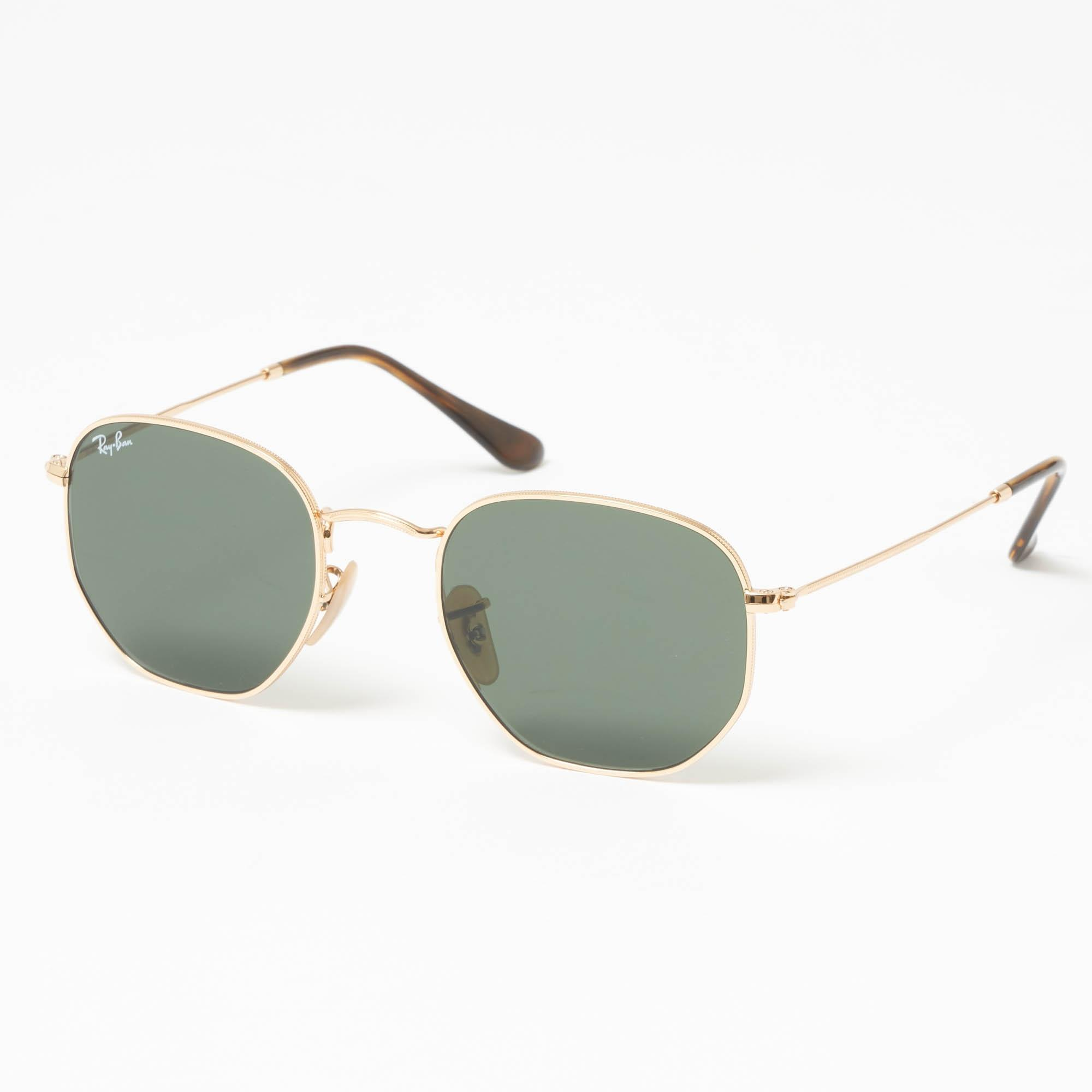 9b4333ef9c Ray-Ban Gold Hexagonal Flat Lens Sunglasses - Green Classic G-15 ...