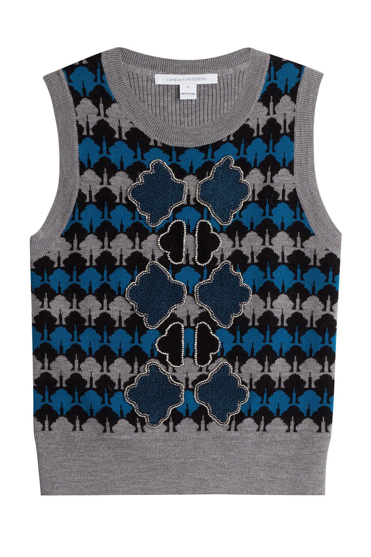 Diane von Furstenberg - Multicolor Pull sans manches en laine mérinos -  Lyst. Afficher en plein écran 4d625ce5533