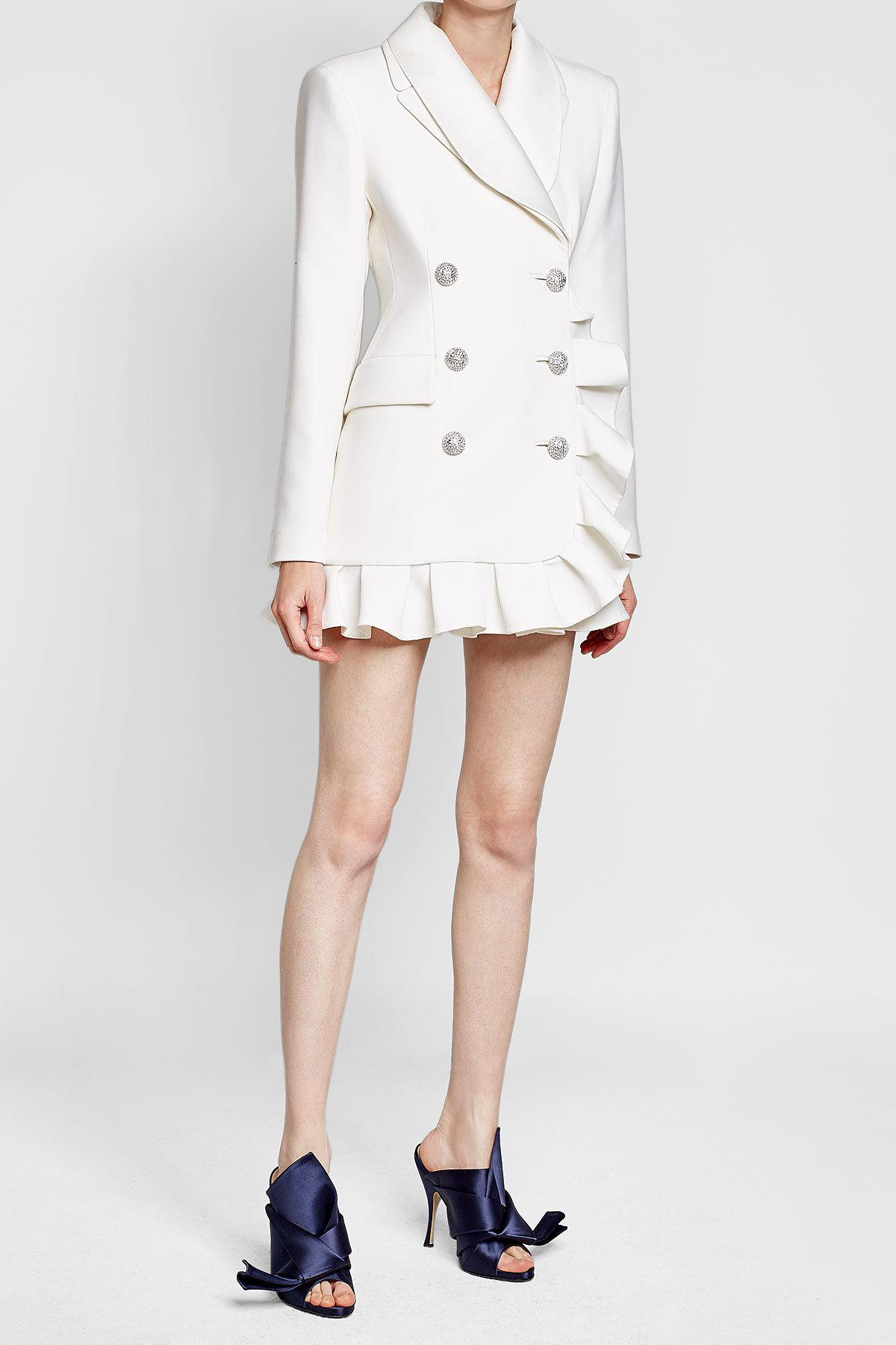 31019a619862 Lyst - Alessandra Rich Wool Jacket Dress With Ruffle Trim in White