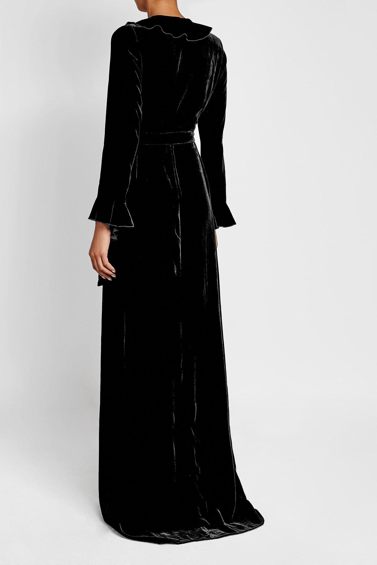 Lyst - Dhela Velvet Gown With Ruffled Trims in Black