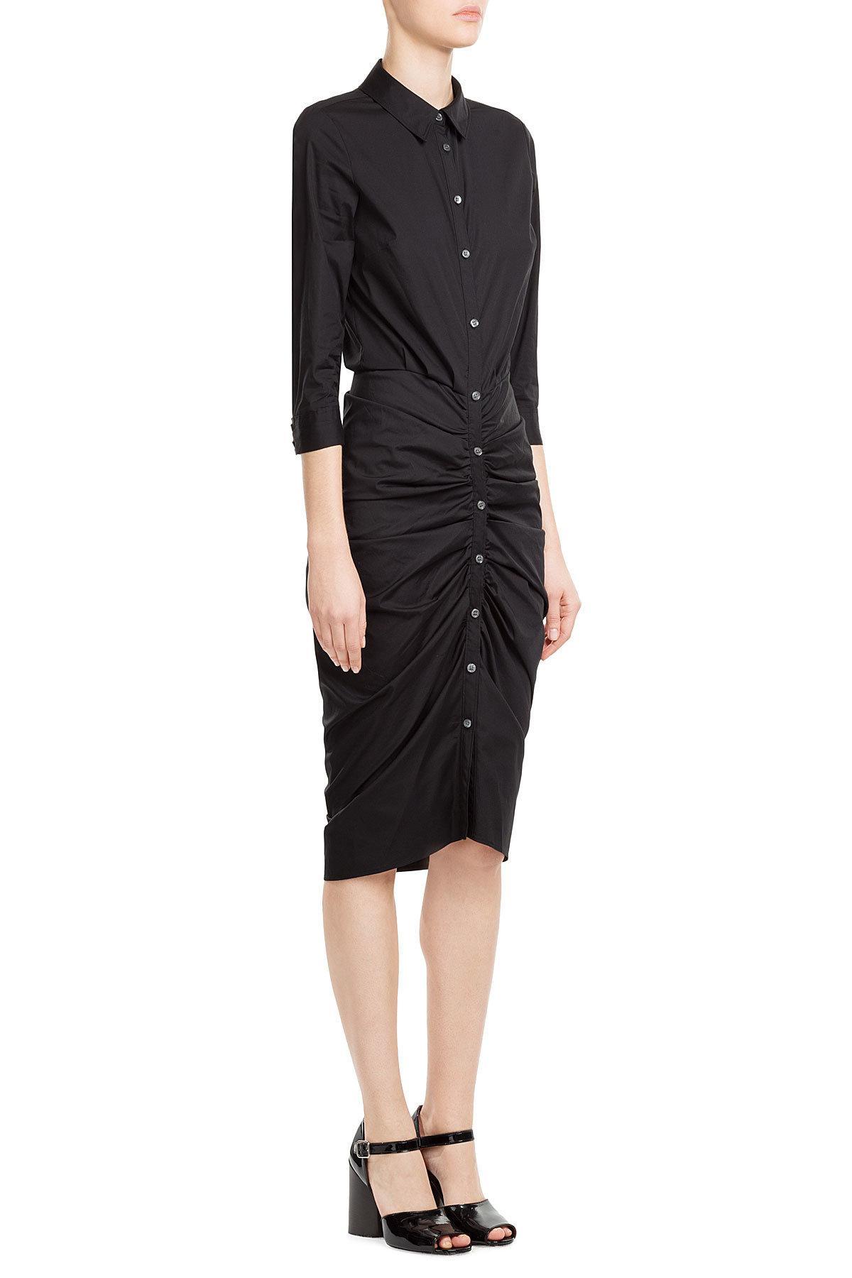 veronica beard capella cotton shirt dress in black lyst