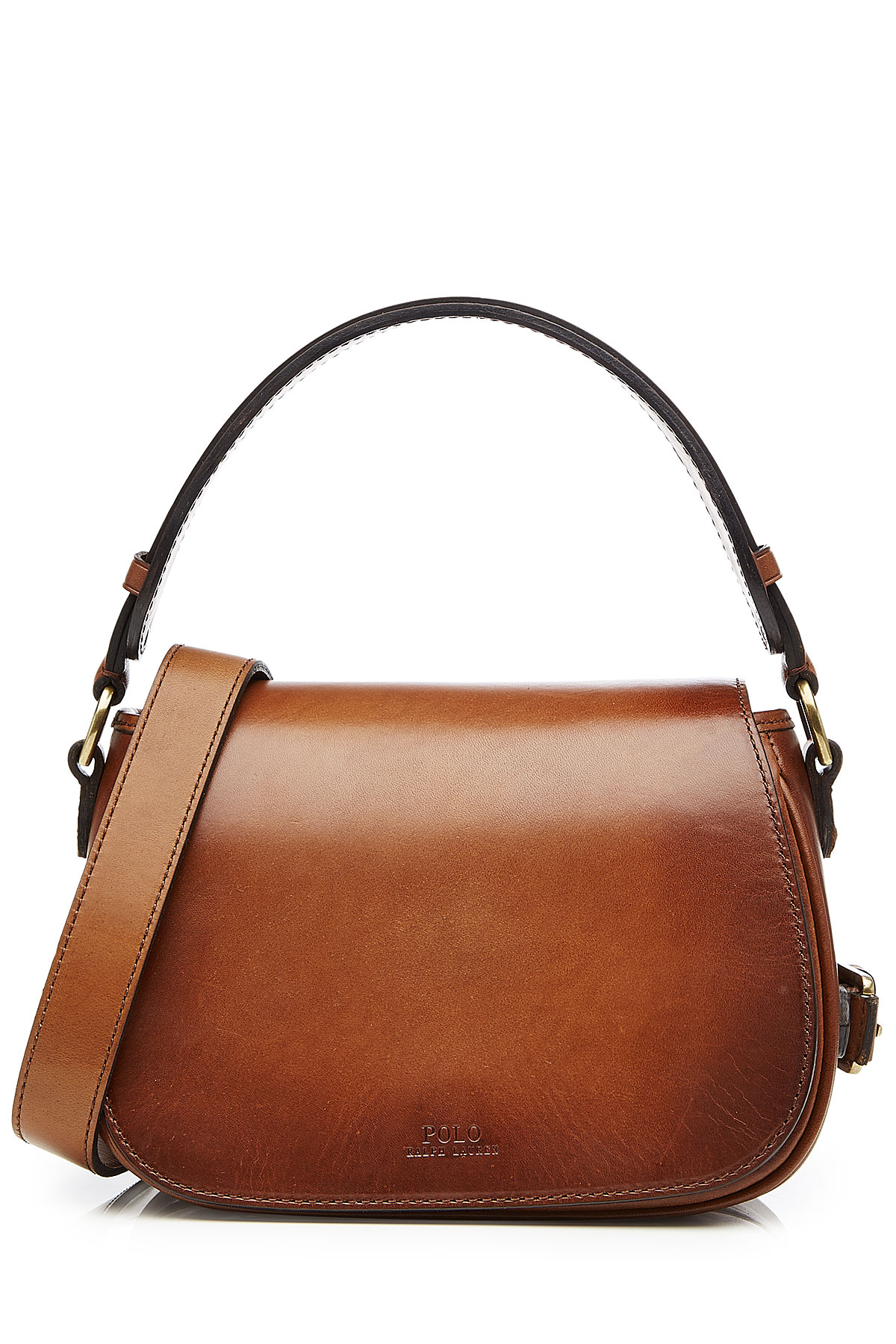 6bc12871534c Polo Ralph Lauren Leather Saddle Bag - Brown - Lyst