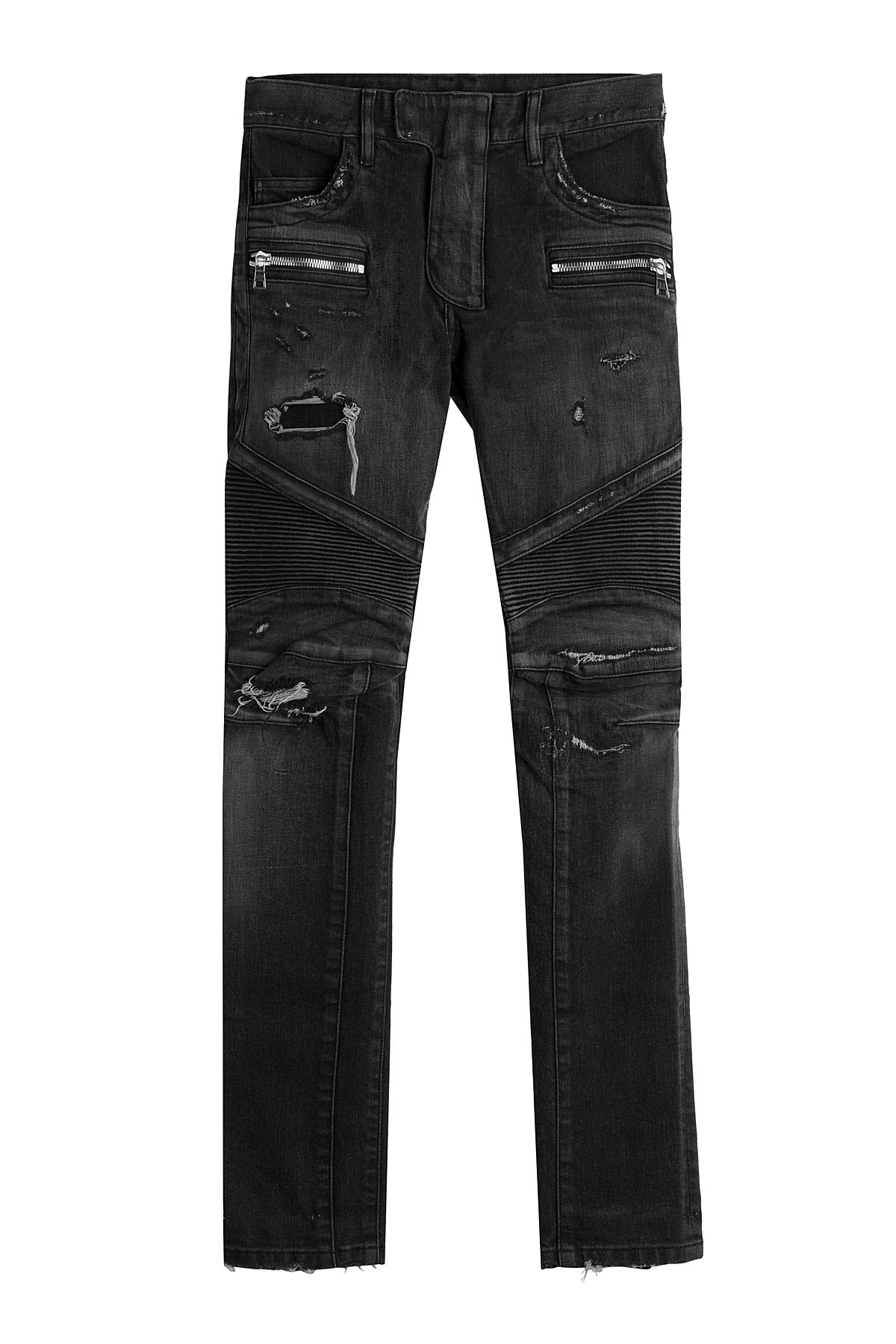 """Balmain biker skinny fit jeans. Black. W34 but prob fit as they are slim fitting. Looked after, but colour is starting to fade as seen in pics, around the seems. No time wasters please; Do not b PIERRE BALMAIN 30"""" Mens Skinny Jeans BNWT RRP £ £ 1 bid + £ P&P."""
