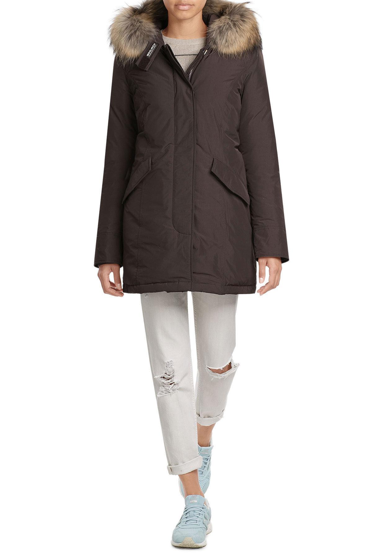 woolrich luxury arctic down parka with fur trimmed hood in black lyst. Black Bedroom Furniture Sets. Home Design Ideas