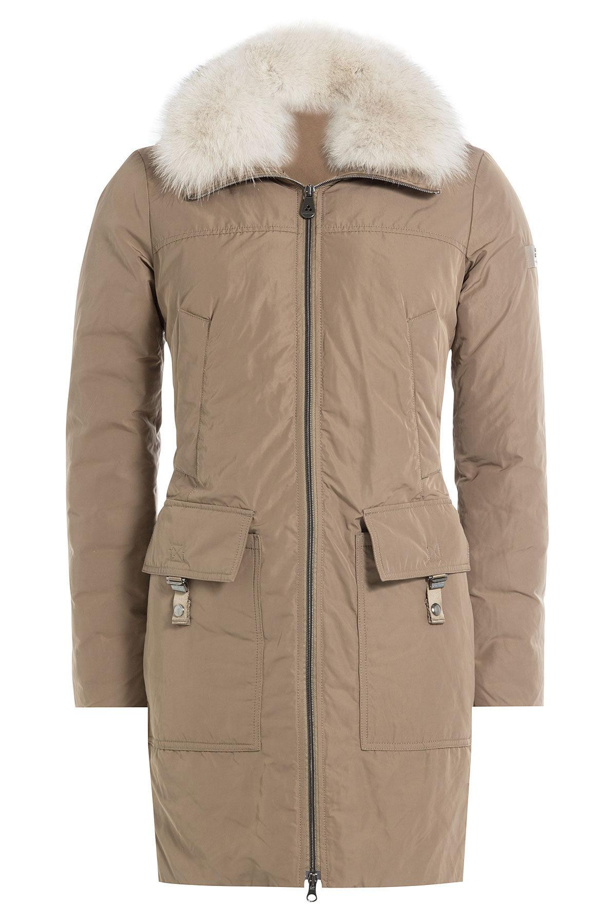 Peuterey Down Coat With Fur Trimmed Hood In Natural Lyst