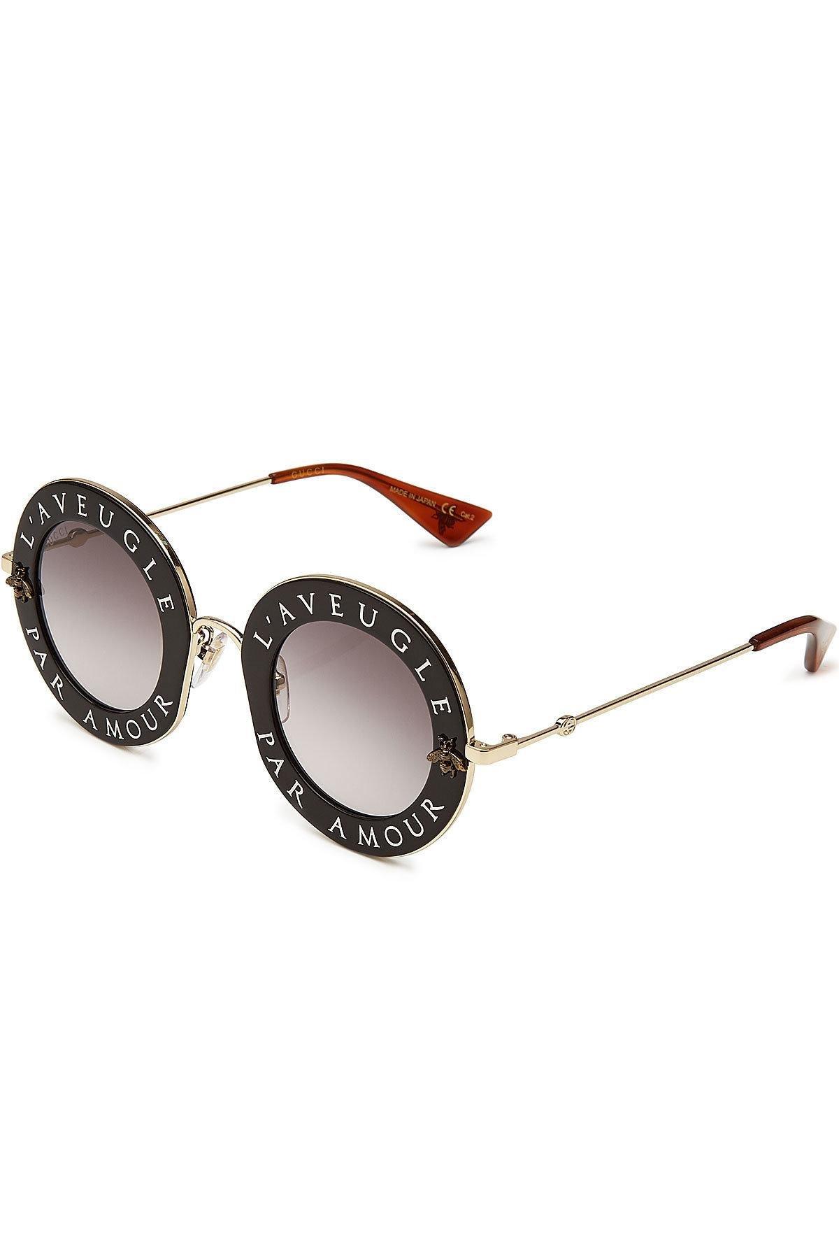 Wire Aviator Gles | Lyst Gucci L Aveugle Par Amour Round Sunglasses