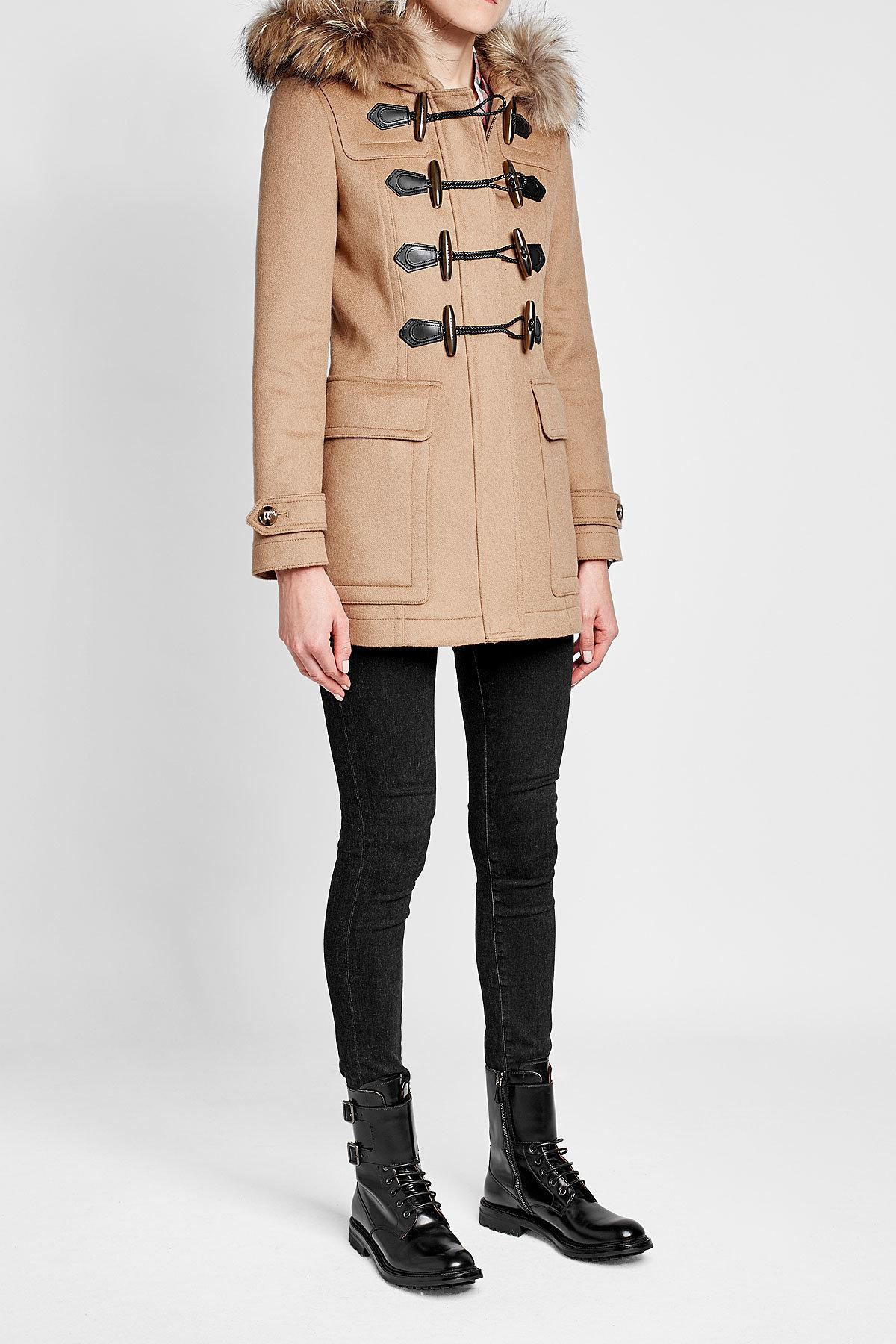 2e197ff3322ae Burberry Wool Duffle Coat With Fur-trimmed Hood in Natural - Lyst