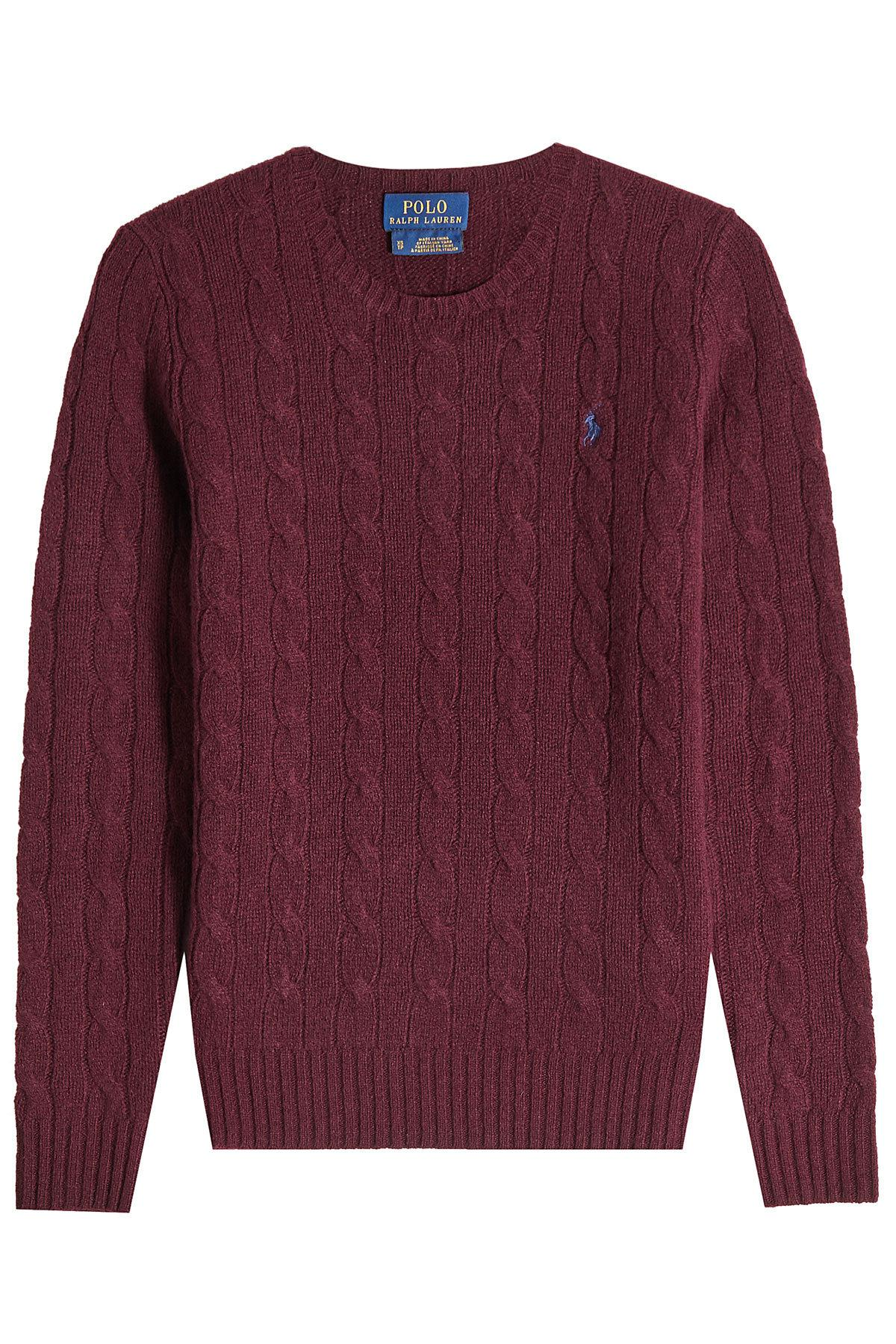 lyst polo ralph lauren wool cable knit pullover. Black Bedroom Furniture Sets. Home Design Ideas