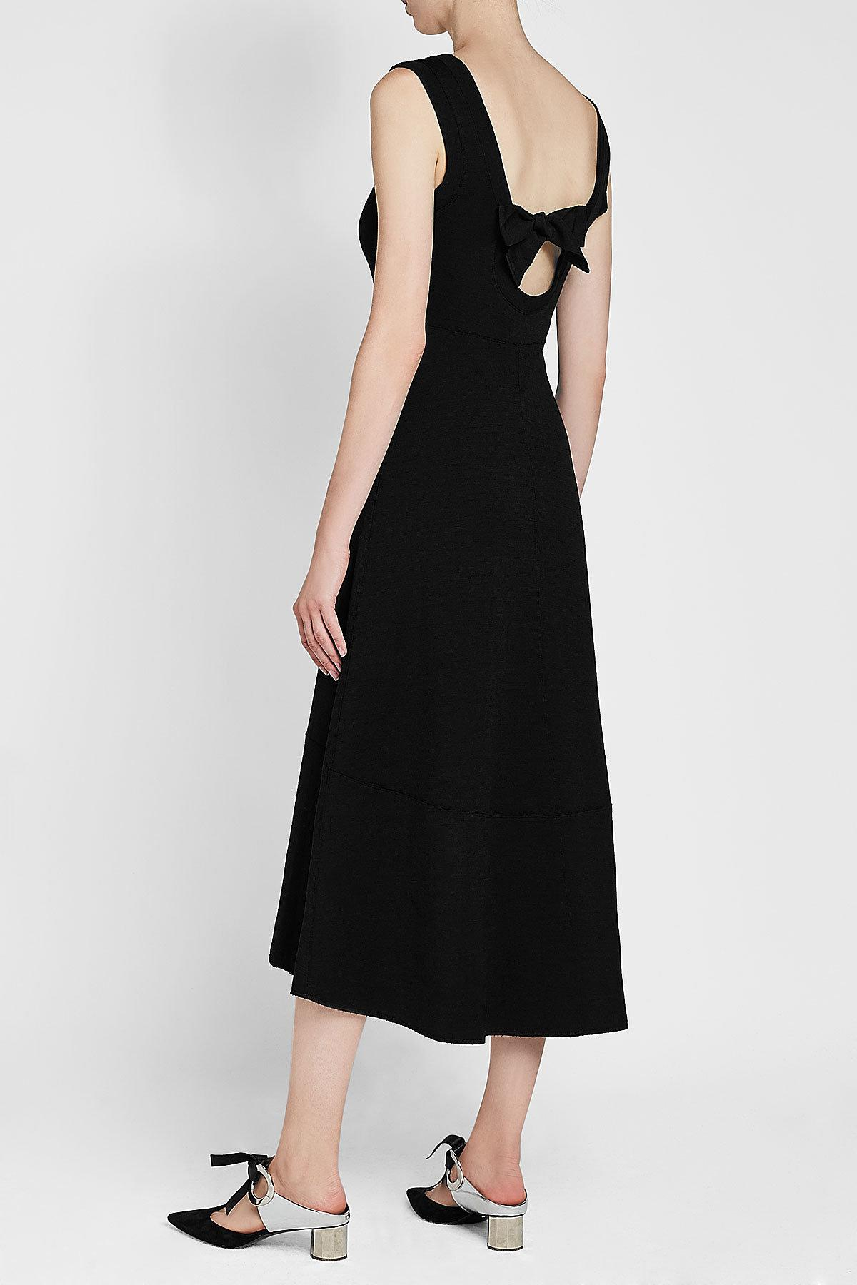802bb97a9d92 Proenza Schouler Midi Dress With Wool And Cotton in Black - Lyst