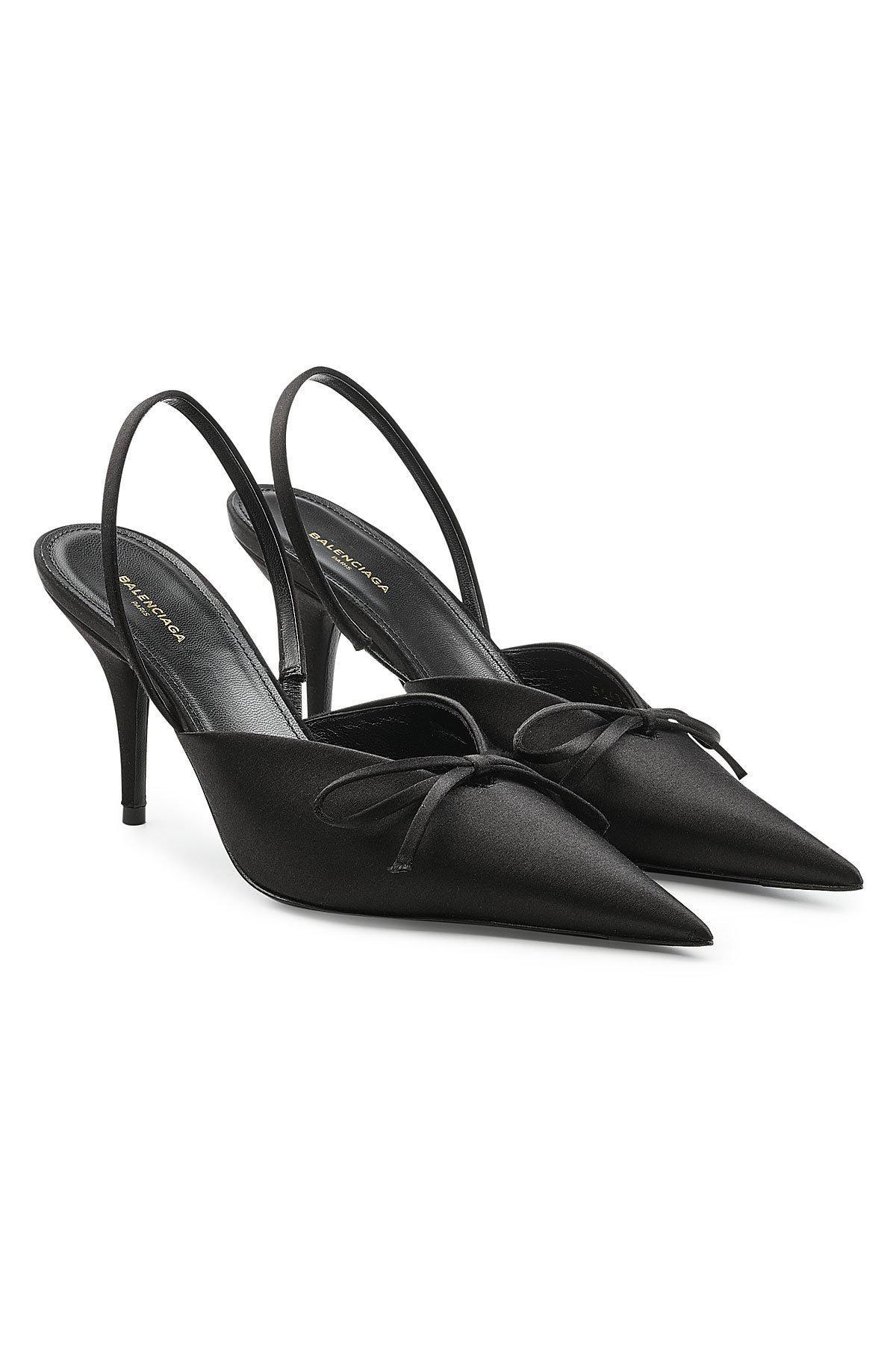 Balenciaga Black Satin Slingback Heels Footlocker Pas Cher En Ligne txRb1WX