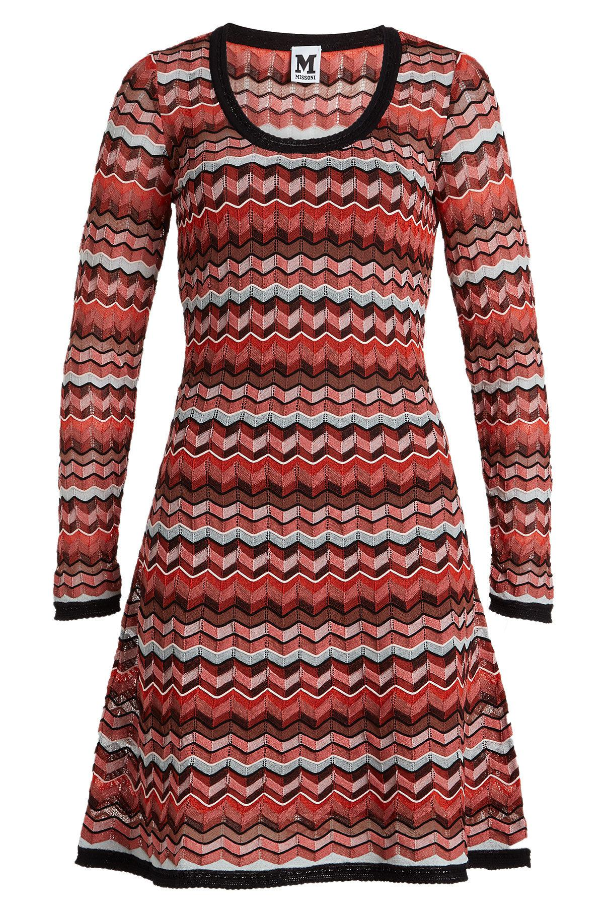 9e80c42a03 Lyst - M Missoni Knit Dress With Cotton And Linen in Red