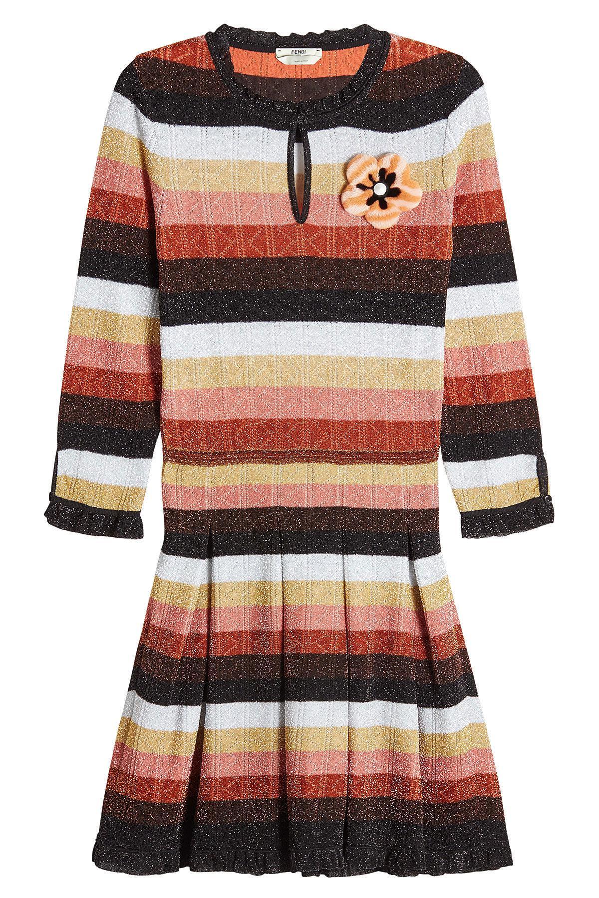 Fendi - Multicolor Robe en mélange de laine imprimée et ornement fourrure -  Lyst. Afficher en plein écran d07c3615db0