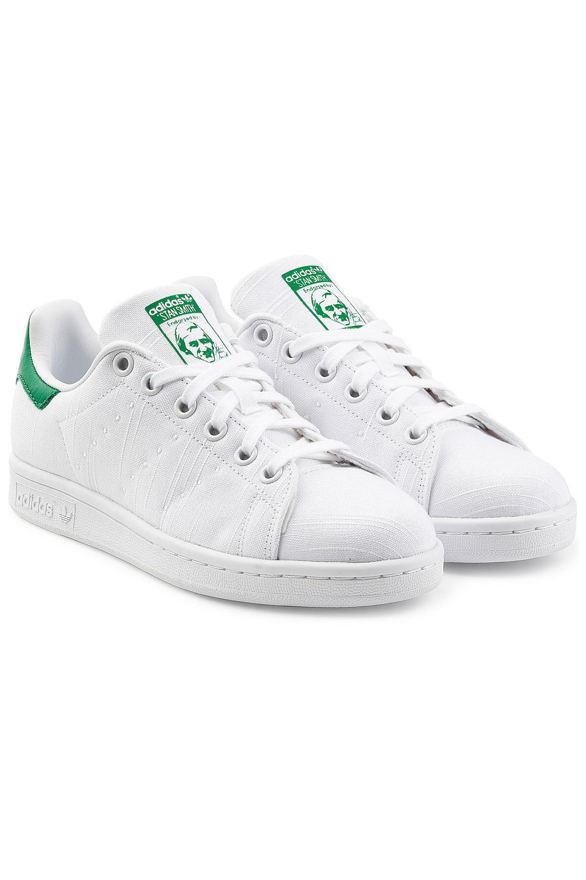 lyst adidas originali stan smith ricamati tela scarpe bianche