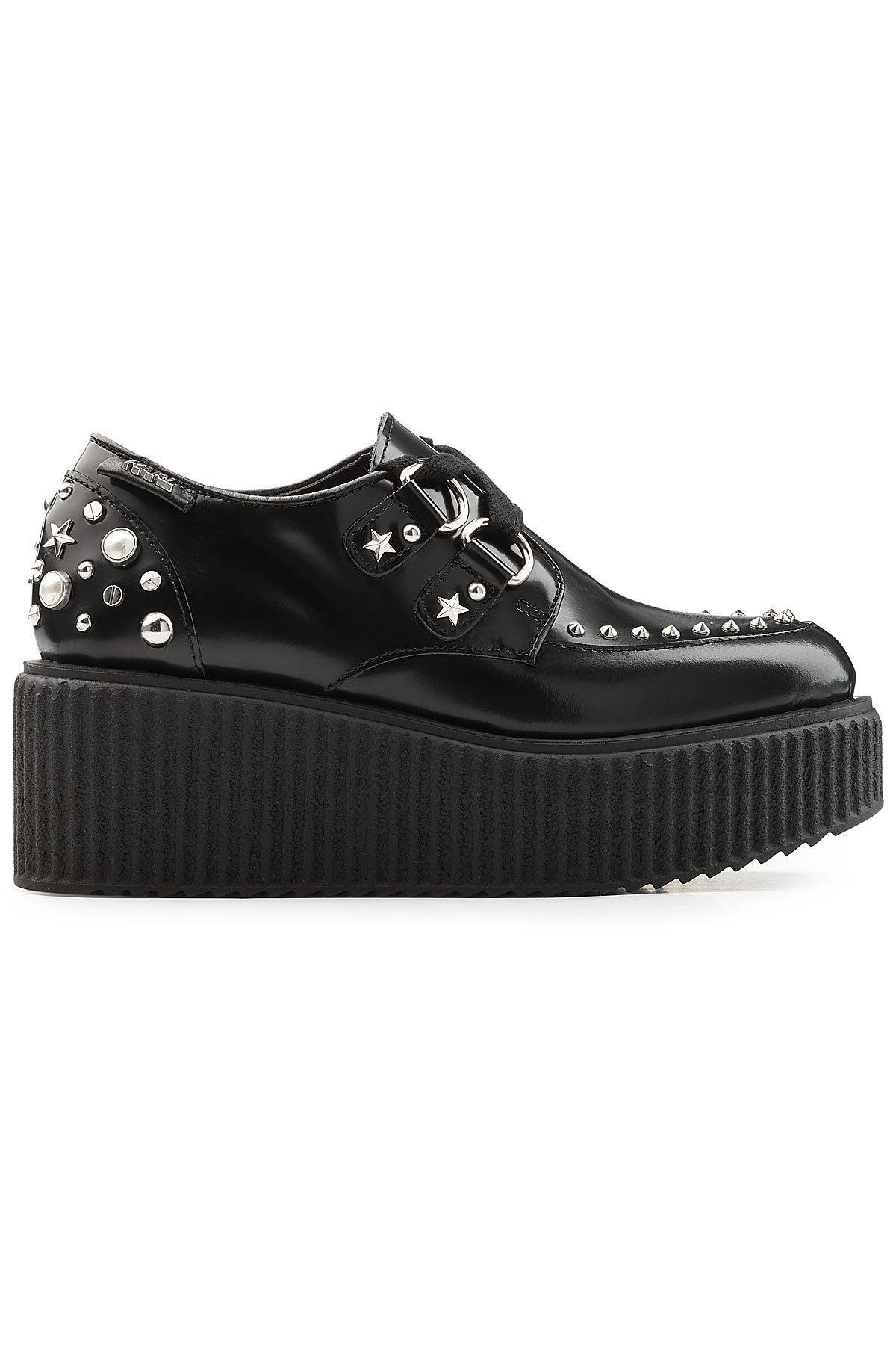 d968b956bd9c Lyst - Karl Lagerfeld Embellished Leather Platform Creepers in Black