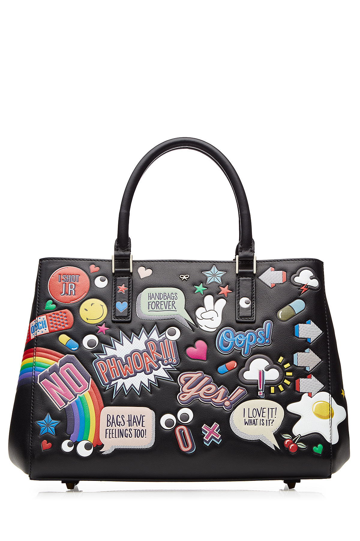 anya hindmarch leather sticker motif maxi ebury tote bag in black lyst. Black Bedroom Furniture Sets. Home Design Ideas