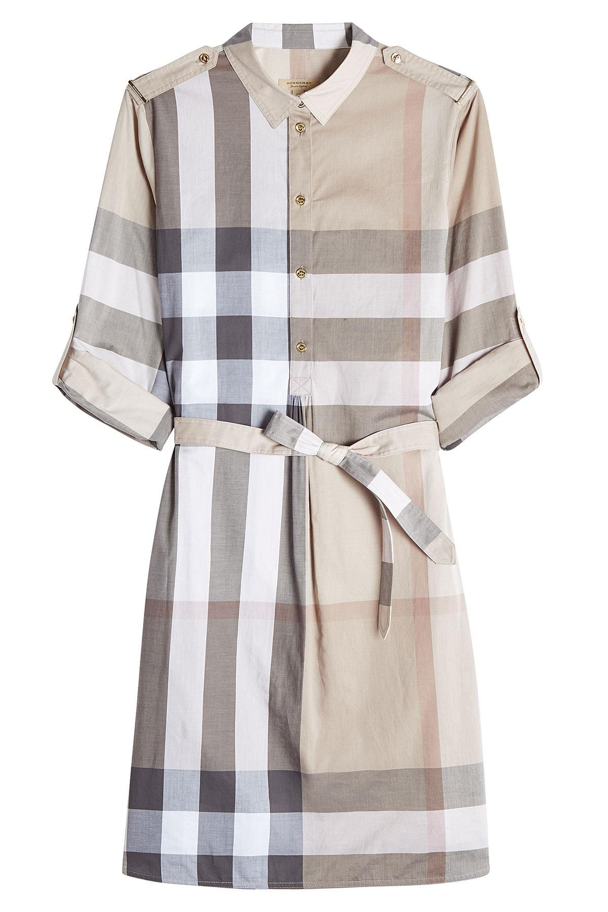 Burberry Printed Cotton Shirt Dress Multicolor In
