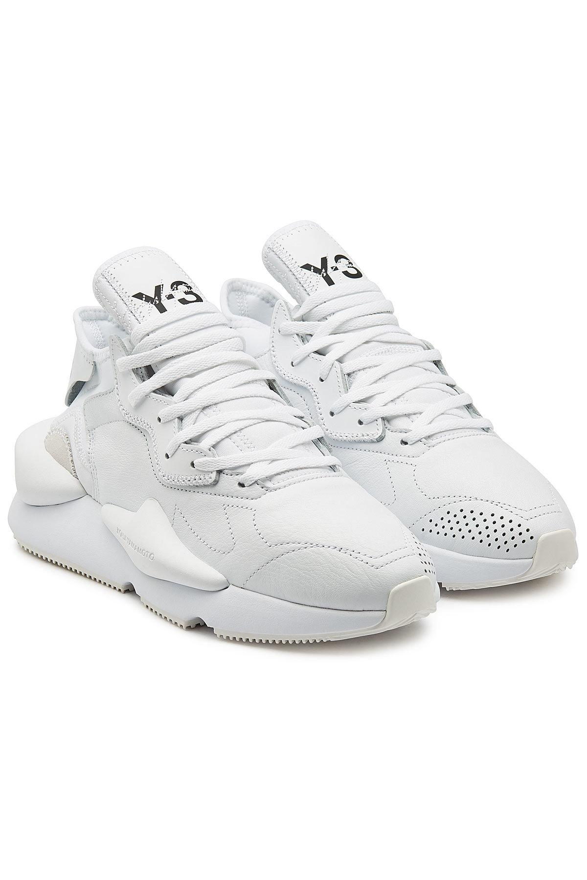 0d582b25f56fe Lyst - Y-3 Kaiwa Leather Sneakers in White for Men