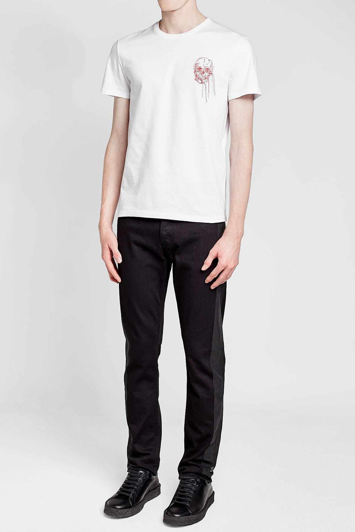 Alexander mcqueen printed cotton t shirt in white for men for Alexander mcqueen shirt men