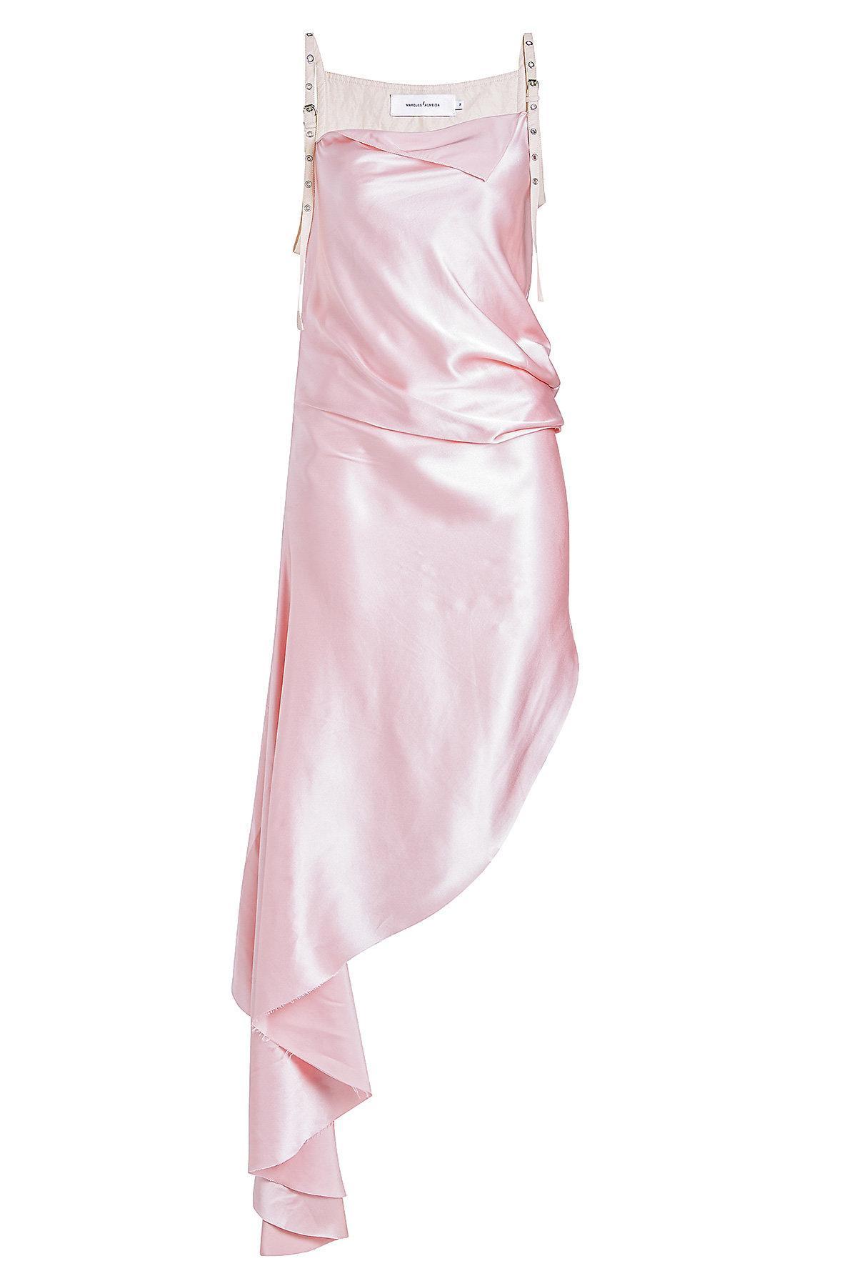 52c058ff227e3b Lyst - Marques Almeida Buckle Strap Asymmetric Silk Dress in Pink