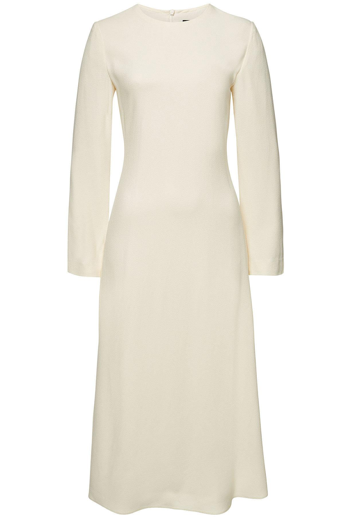 c338dc5dfd1 Lyst - Theory Crepe Midi Dress in Natural