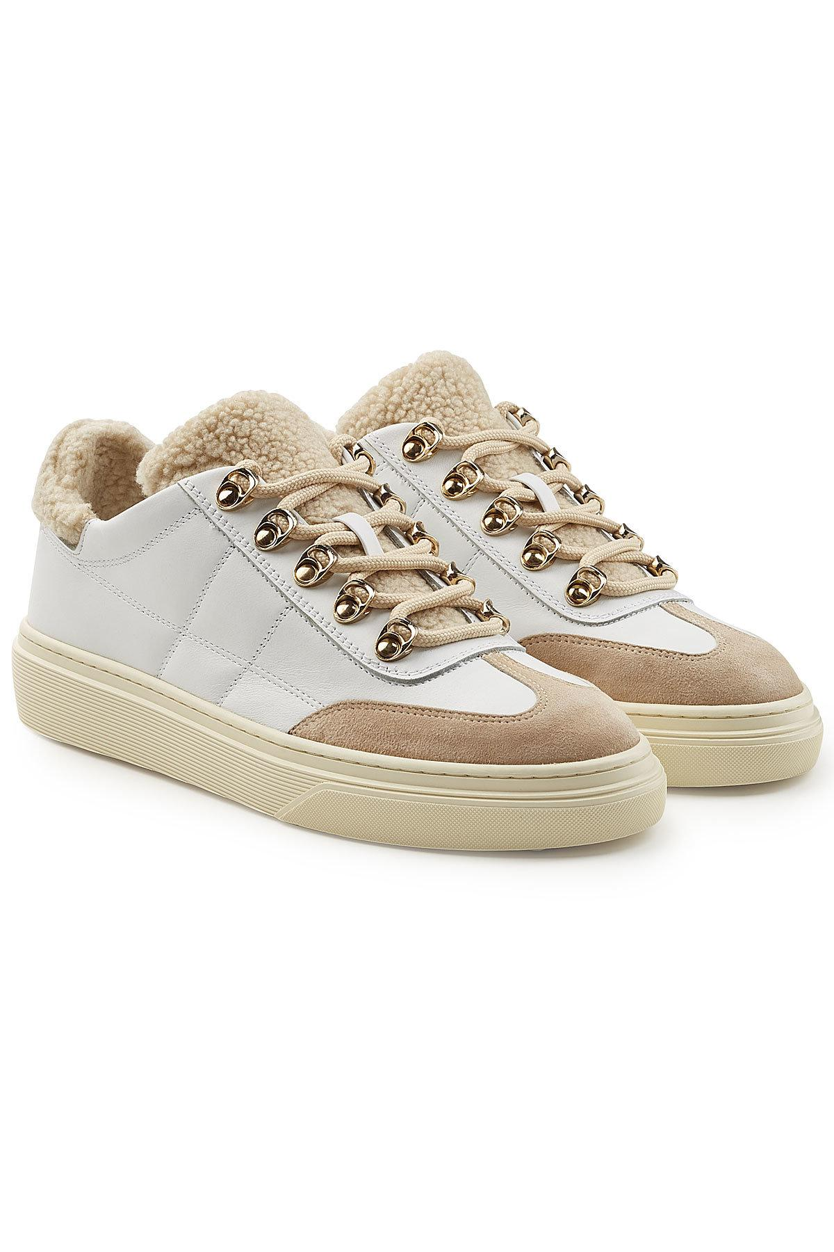 Hogan. Women's Leather And Suede Sneakers With Faux Shearling Insole