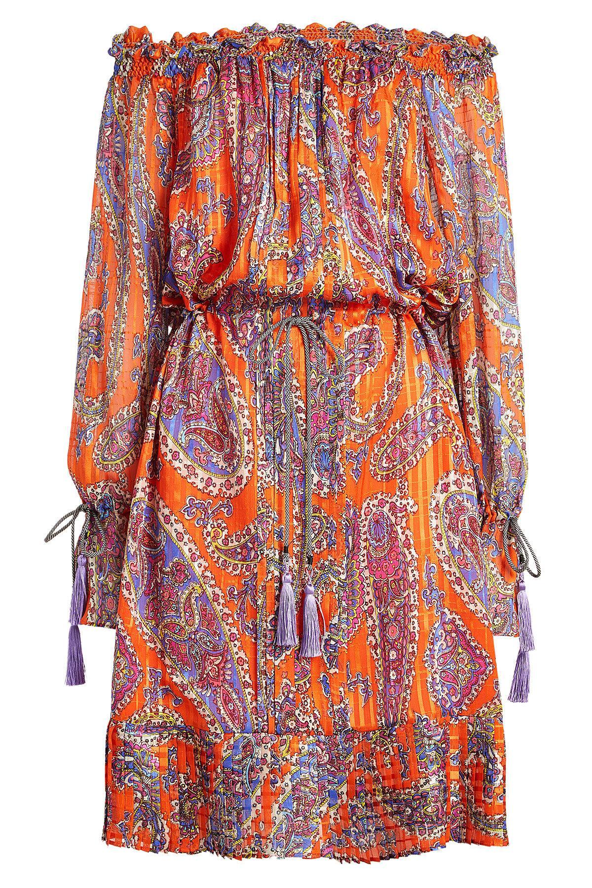 Etro. Women's Red Off-shoulder Printed Silk Dress