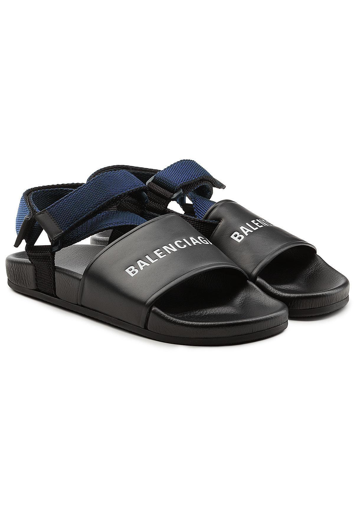 8e49a52cf65b Balenciaga Leather Sandals in Black for Men - Lyst