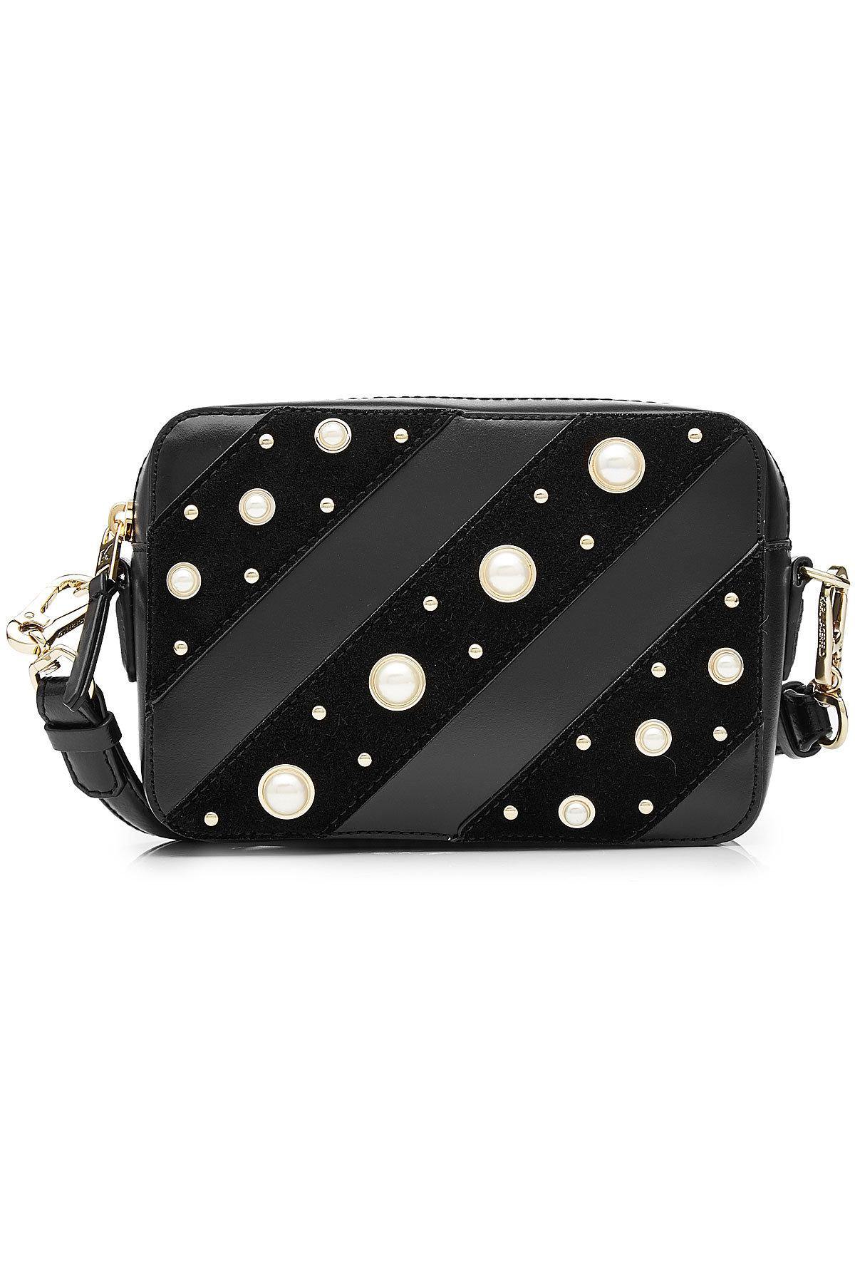 a3b7b107ae4 Lyst - Karl Lagerfeld Leather Shoulder Bag With Faux Pearl ...