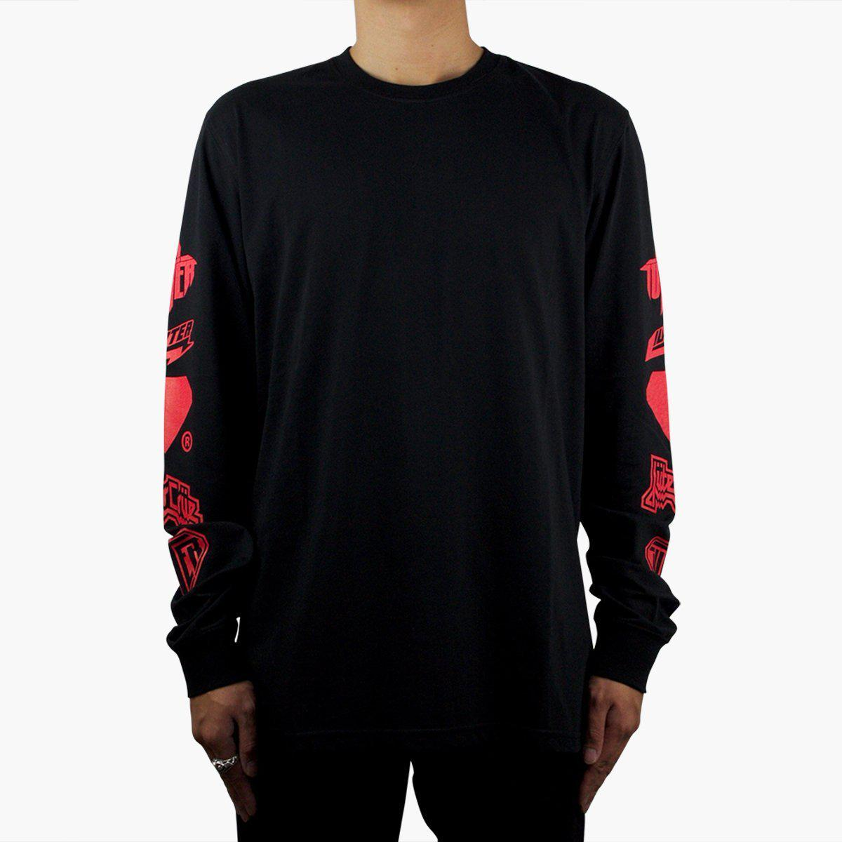 Iuter screen printed long sleeve t shirt in black for men for Long sleeve t shirt printing