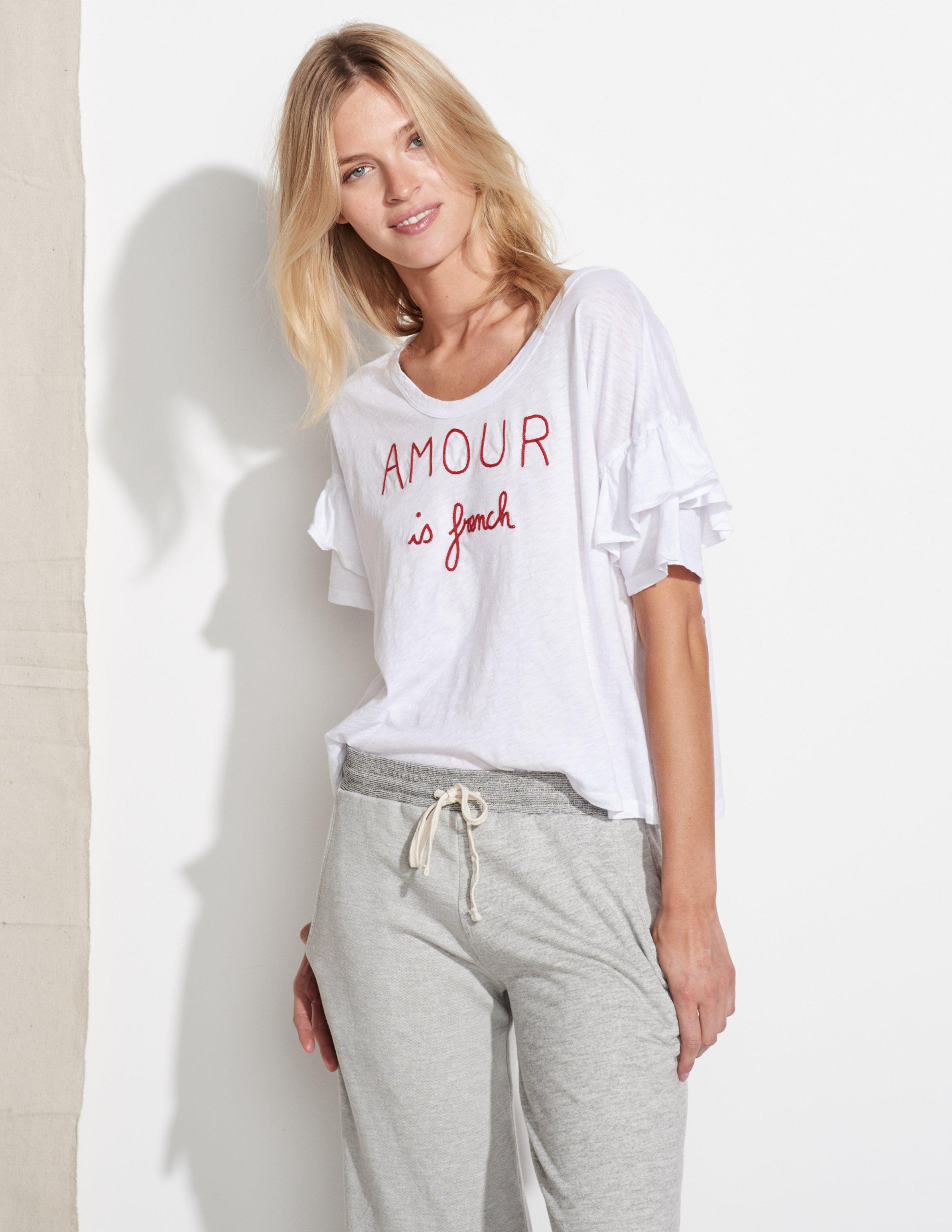 c29f198e433 Lyst - Sundry Amour Is French Ruffle Sleeve Tee in White