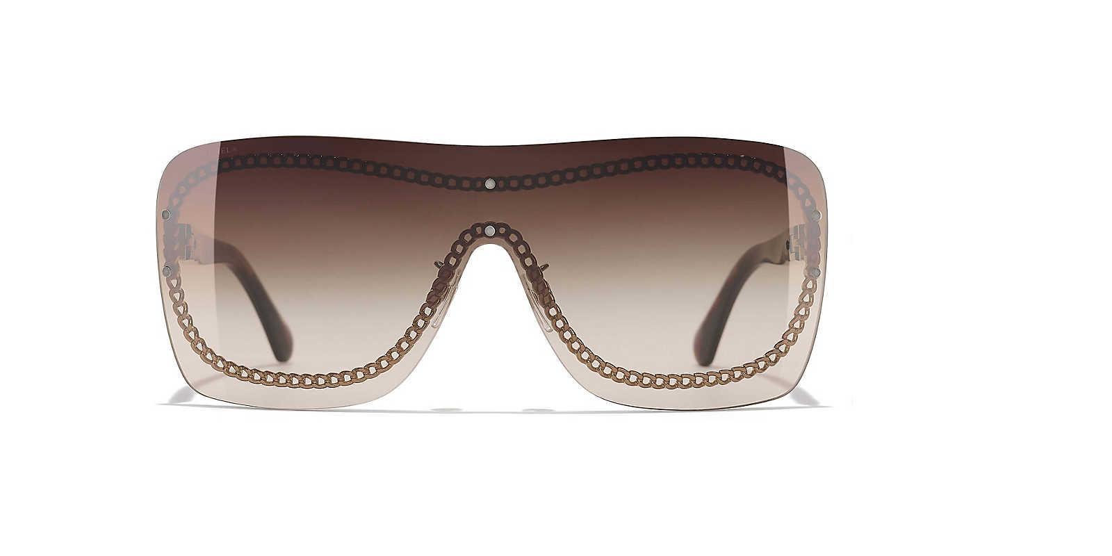 865a6291695e Chanel - Brown Sunglass Shield Sunglasses - Lyst. View fullscreen