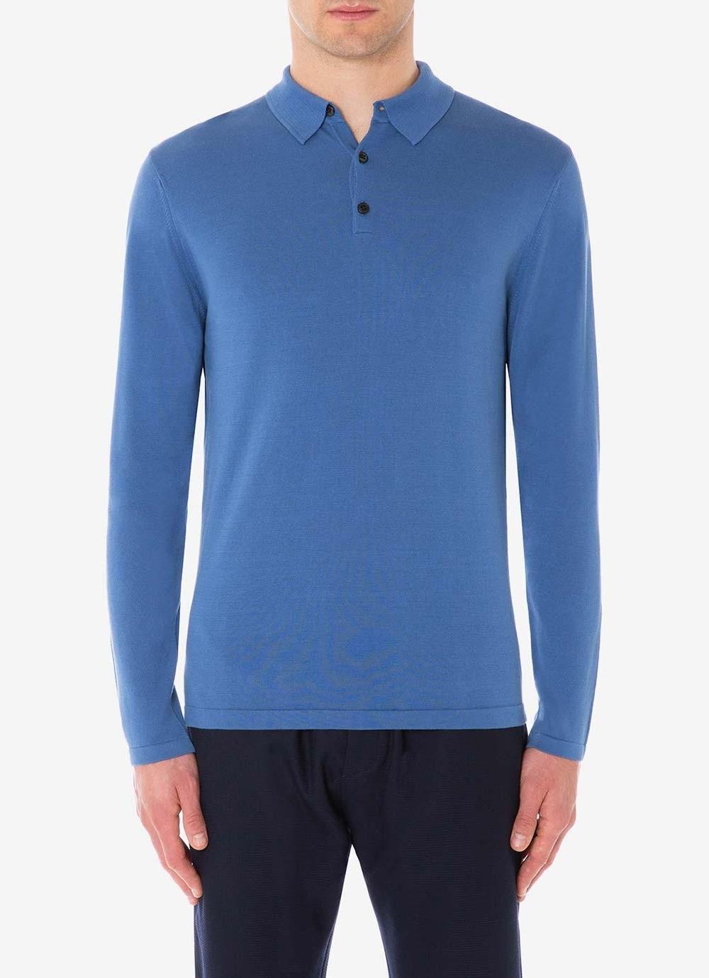 1f205a6f Sunspel - Blue Men's Sea Island Cotton Knit Long Sleeve Polo In Mid Indigo  for Men. View fullscreen