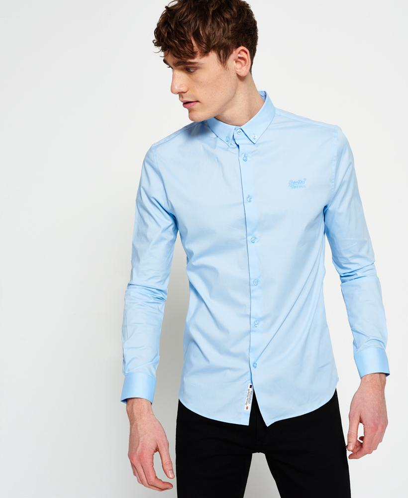 lyst superdry tailored slim fit shirt in blue for men