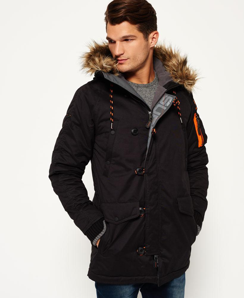 Lyst Superdry Microfibre Parka Coat In Black For Men