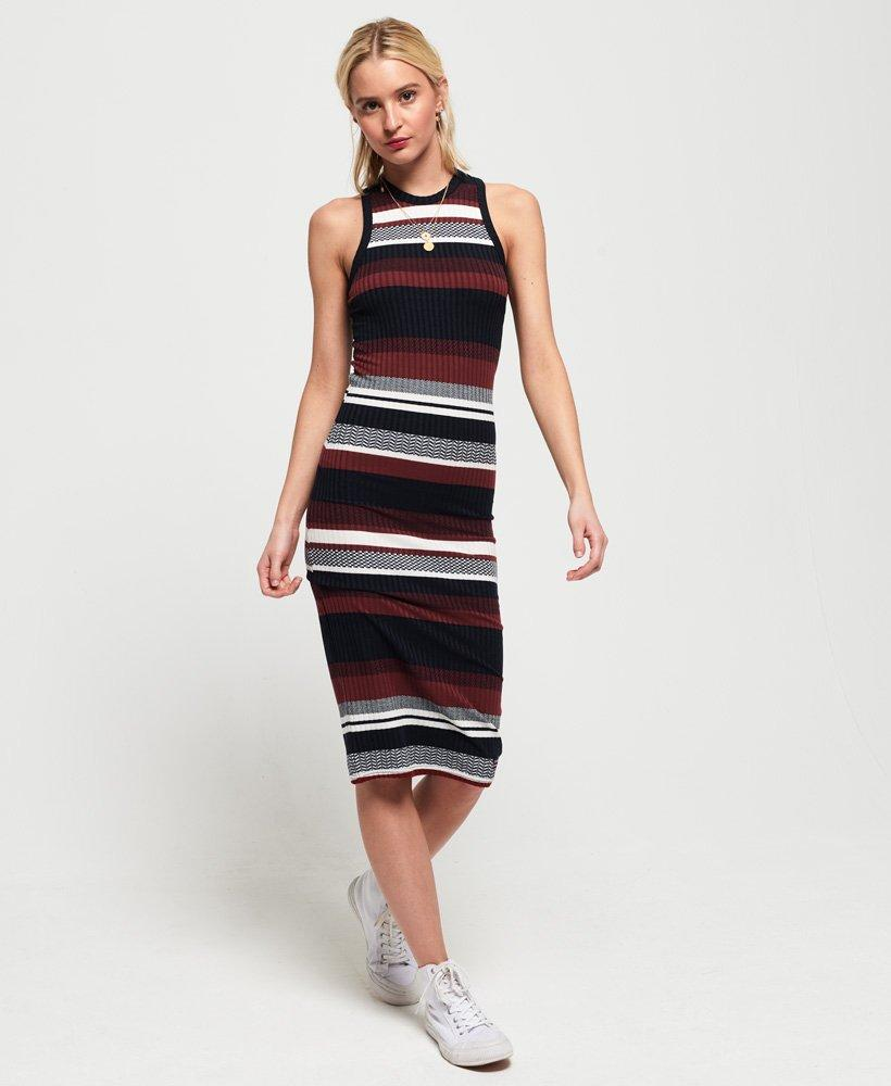 Dress In Stripe Blue Lyst Superdry Knitted Midi CtBQrdshx