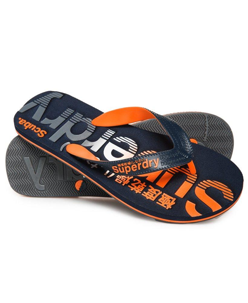 0a28a4c30a72 Superdry - Blue Scuba Faded Logo Flip Flops for Men - Lyst. View fullscreen