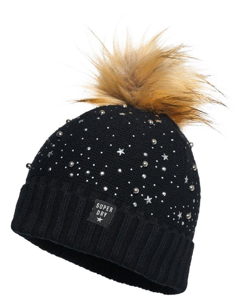 914e79d689d Lyst - Superdry Women s Rock Diamante Bobble Beanie Hat Black in Black