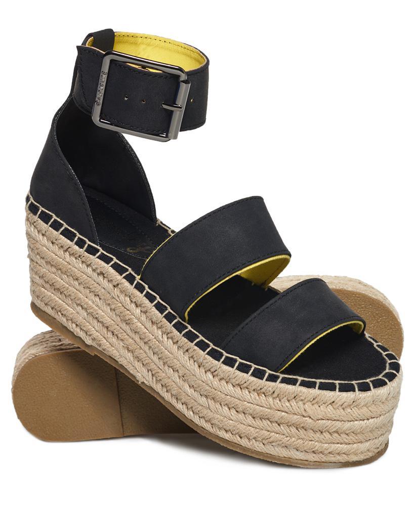 Superdry EMILY FLATFORM - Platform sandals - black