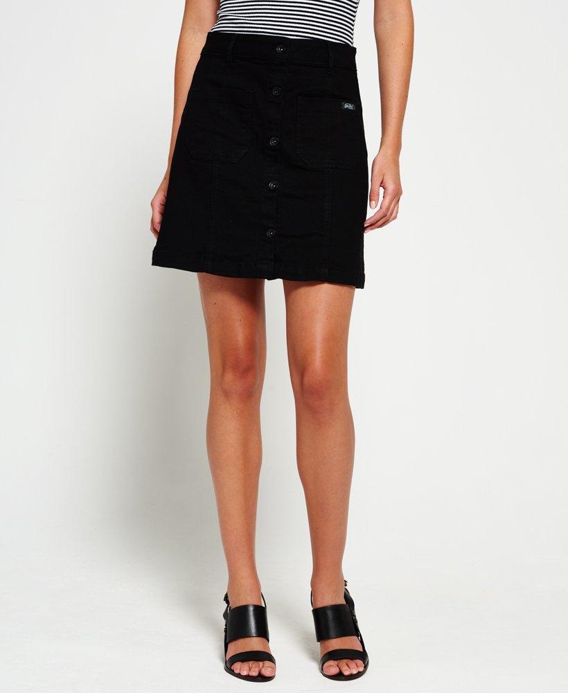 Superdry A-line Denim Mini Skirt in Black - Lyst 7eca4eefa2f0