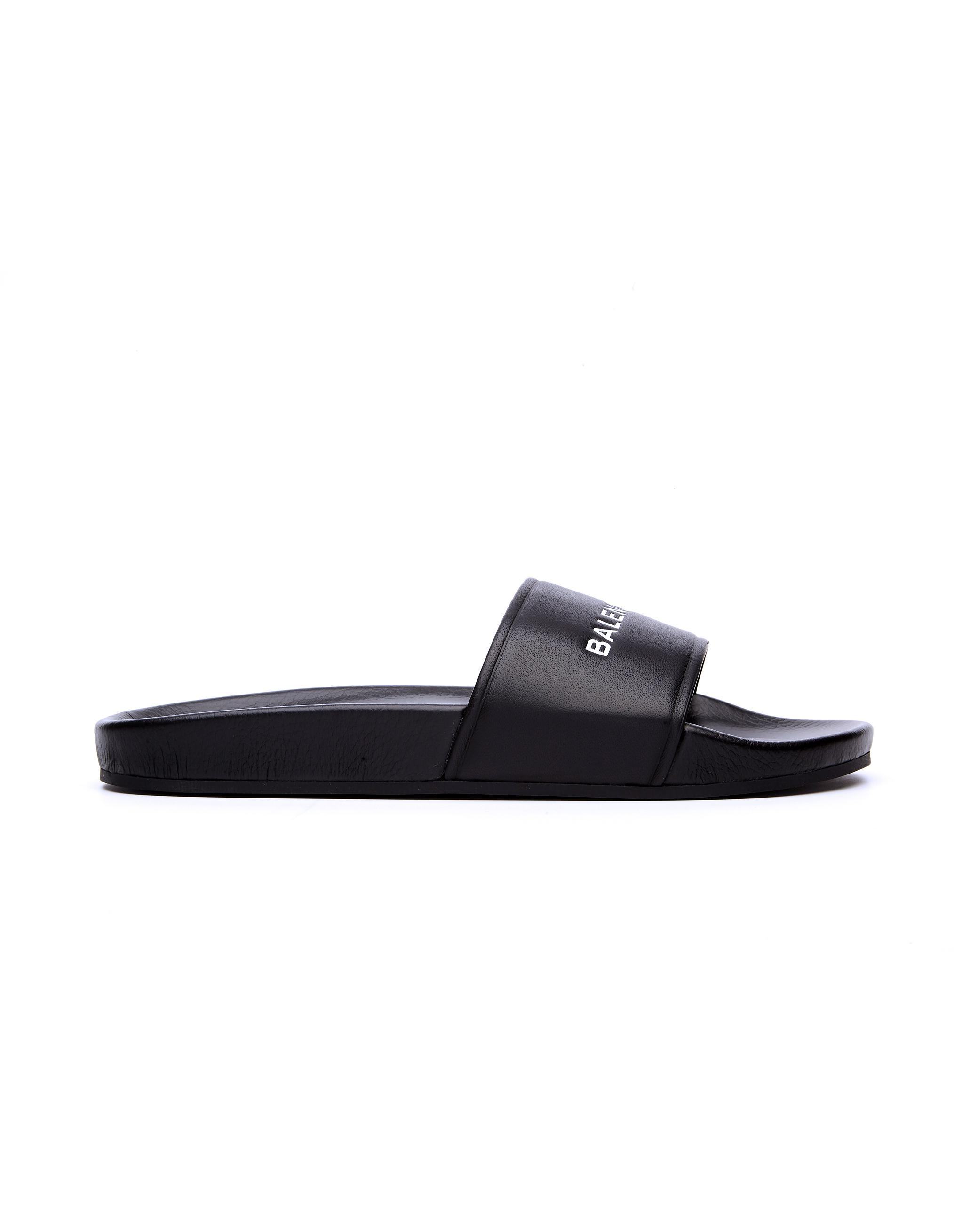 00ddf559d04e6 Lyst - Balenciaga Black Logo Sliders in Black for Men