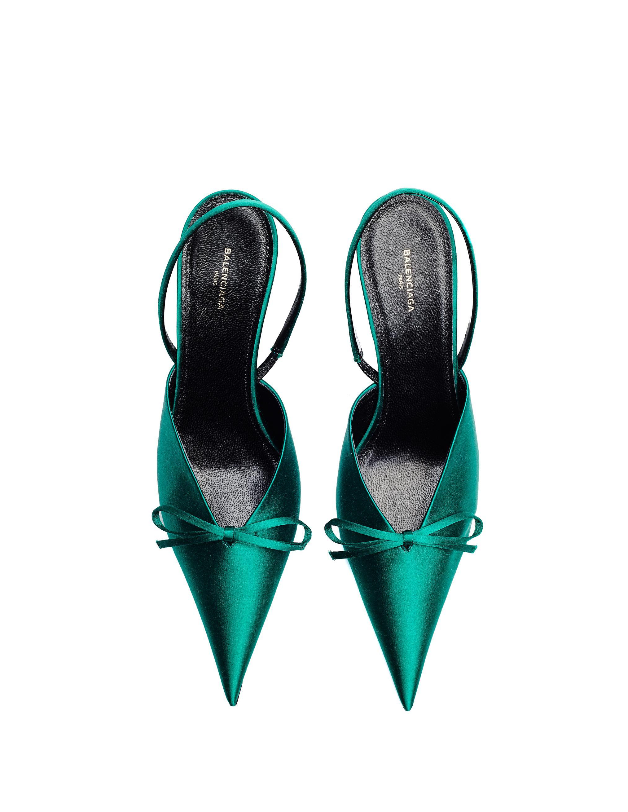 6e66039d35d2 Lyst - Balenciaga Green Knife Slingback Heels in Green