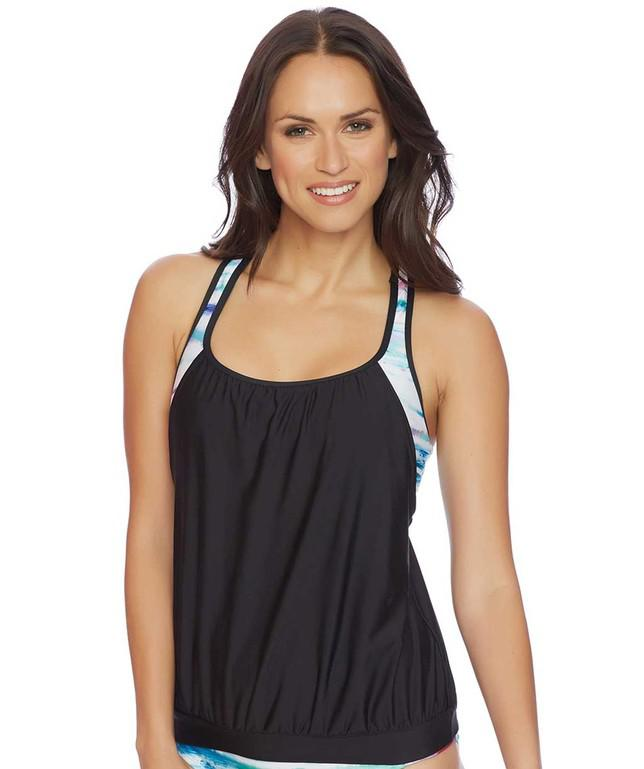 Next by athena om double up 2 tankini top in black lyst for Banded bottom shirts canada