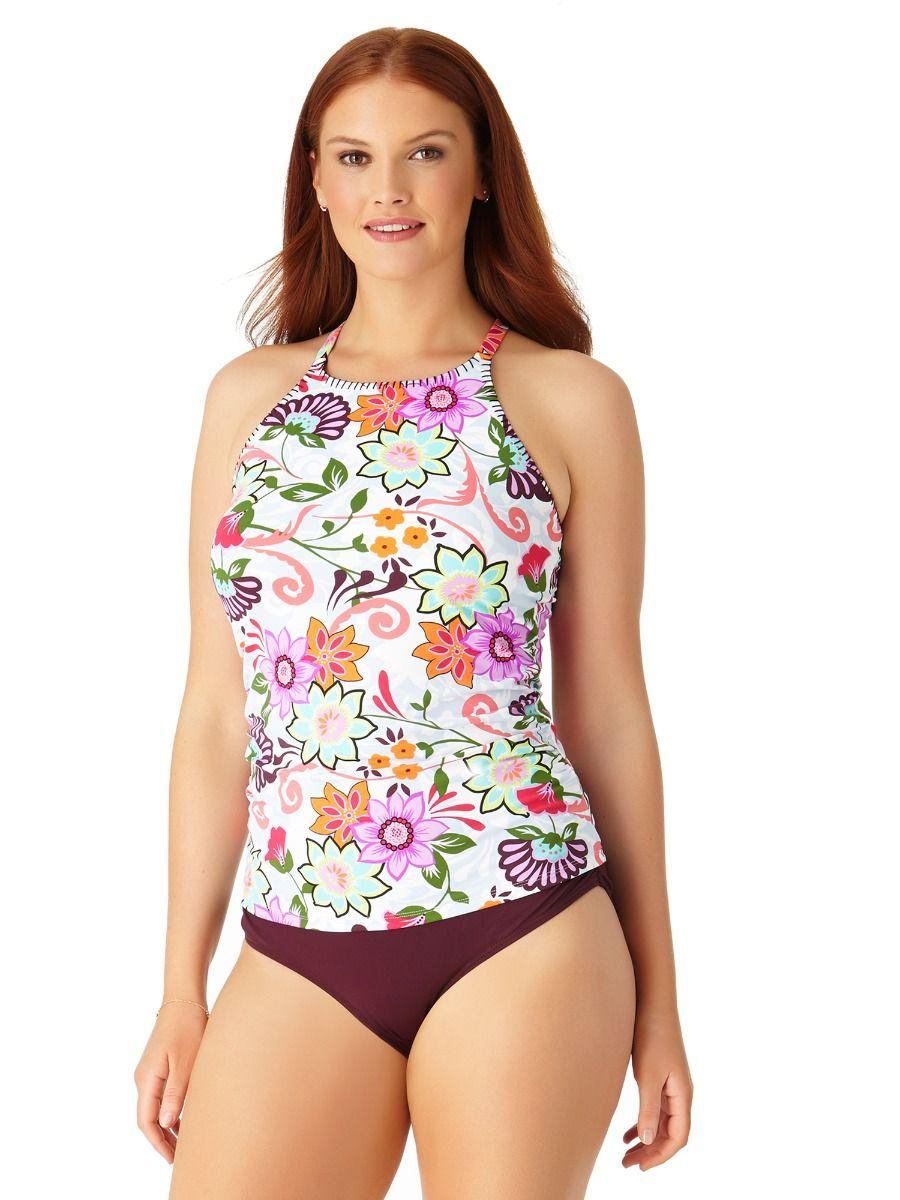 17c31cf323c Anne Cole. Women s Plus Size Fleetwood Floral High Neck Tankini Swim Top