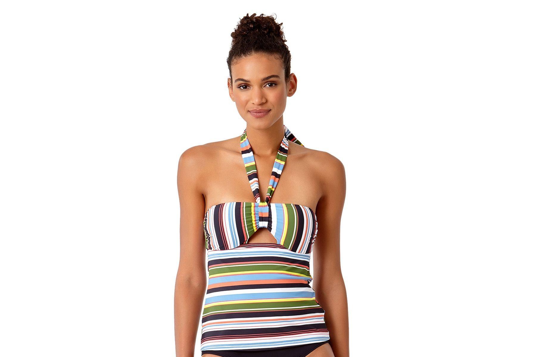 59ddbc3f4bc0a Lyst - Anne Cole Comic Stripe Halter Bandeaukini Swim Top