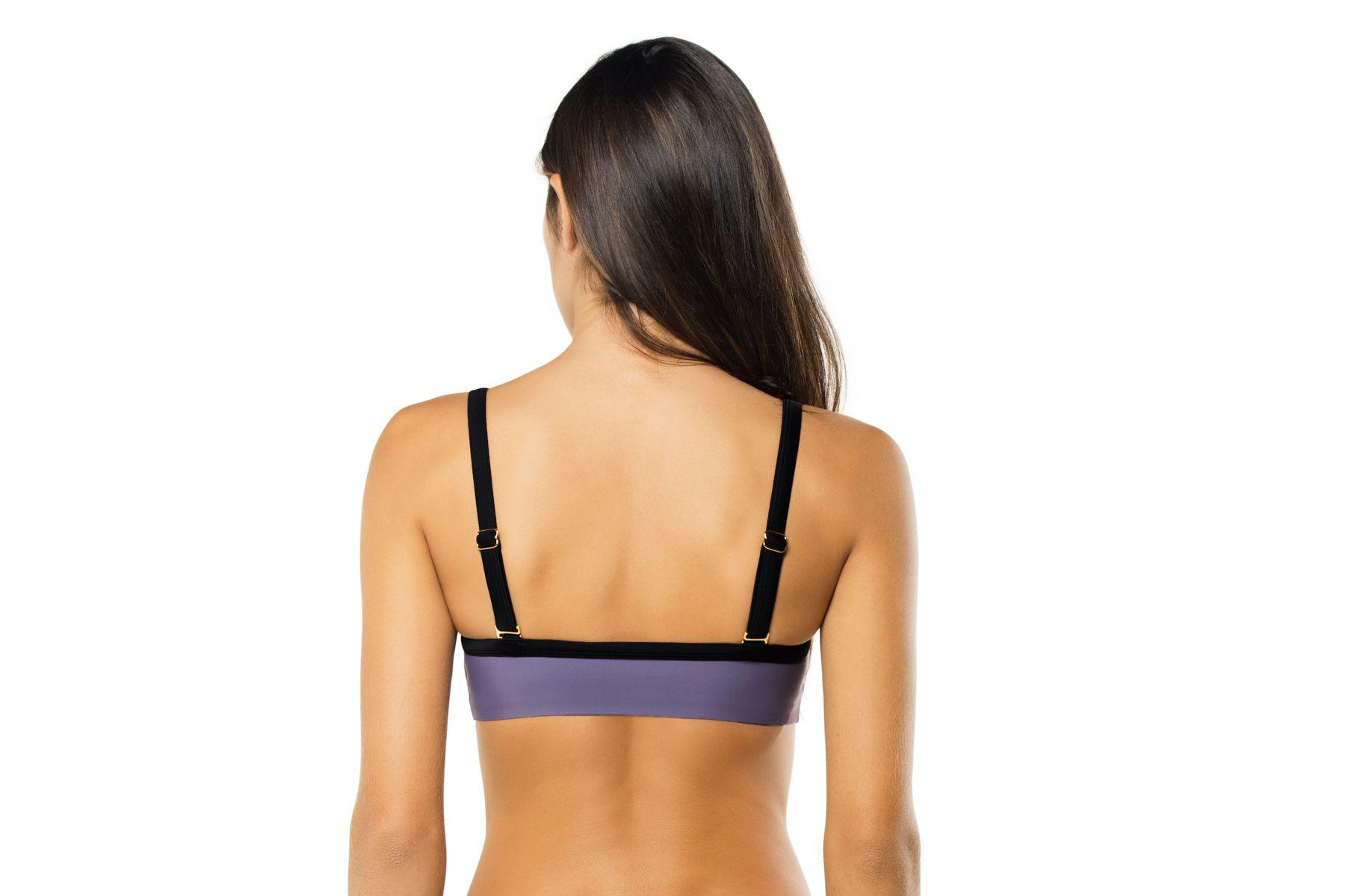 54586ff7586ec Lyst - Pilyq Amethyst Color Block Halter Swim Top in Purple