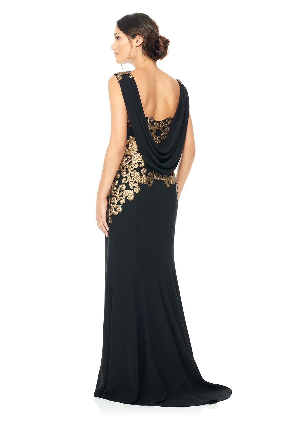 Lyst Tadashi Shoji Crepe Draped Open Back Gown With
